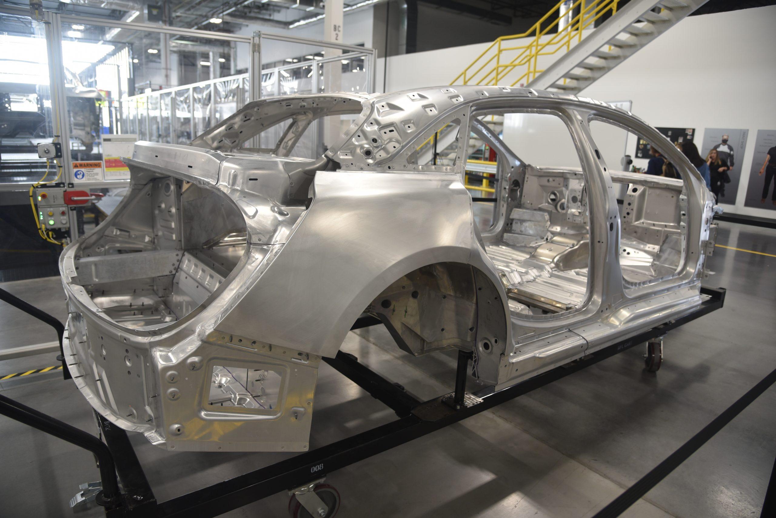 Lucid Air production line body rear quarter