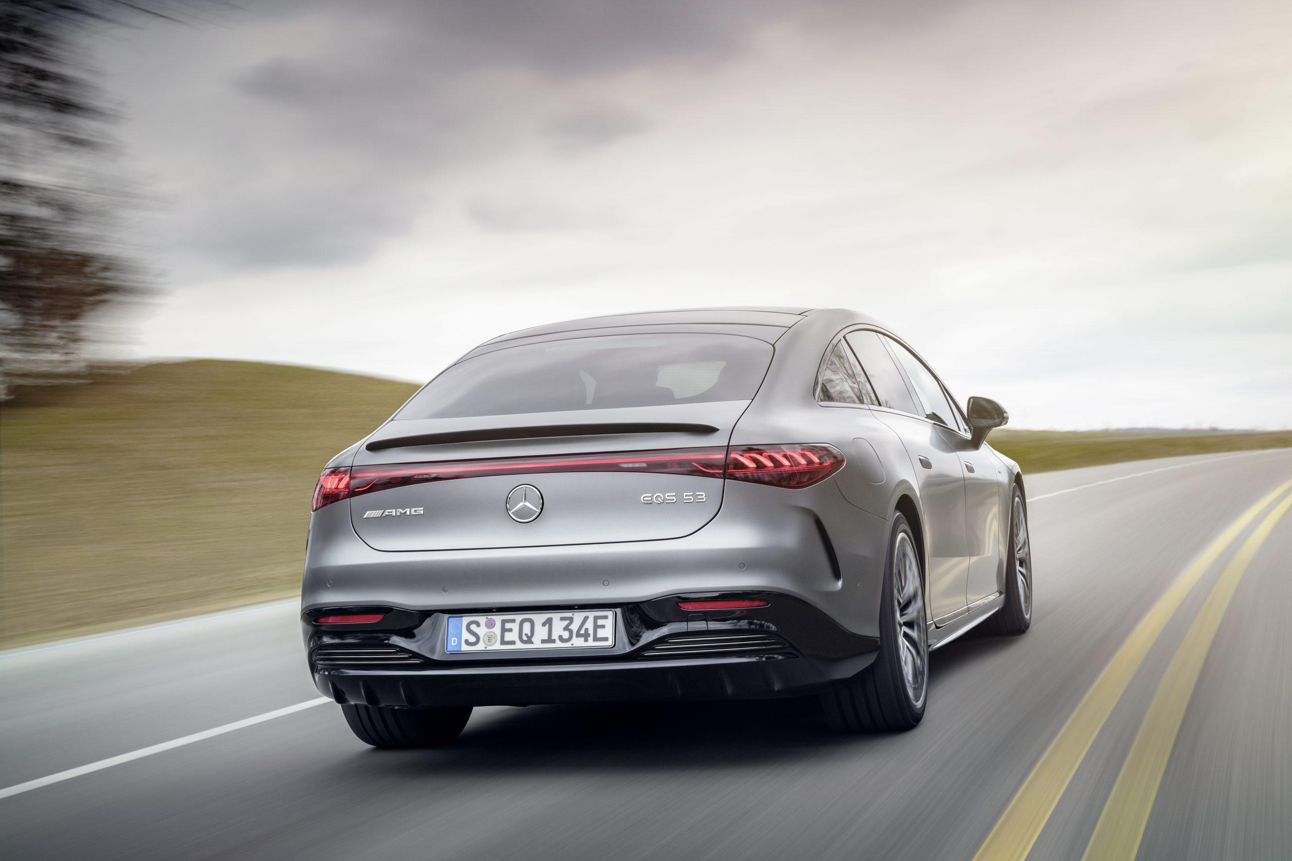 2021 Mercedes-AMG EQS 53 rear three-quarter action