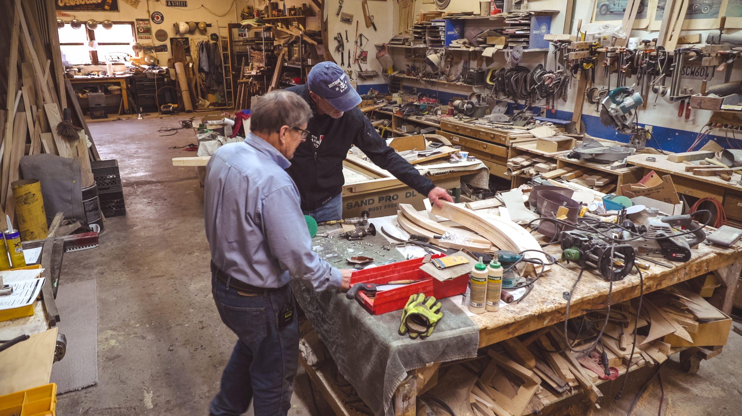 Mike Nickels Woodie Wagon Shop interior