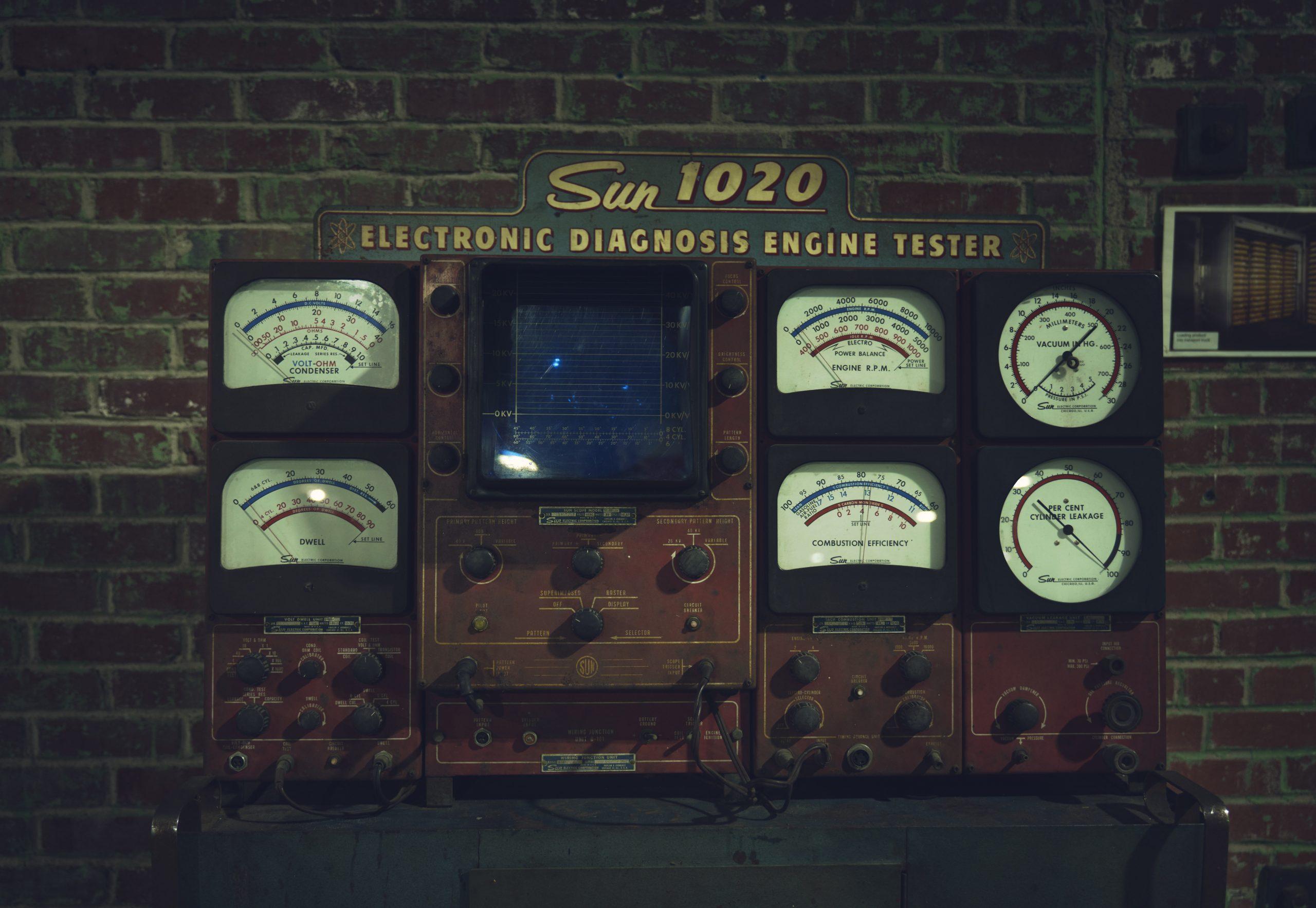 Nashville vintage car museum engine tester wall