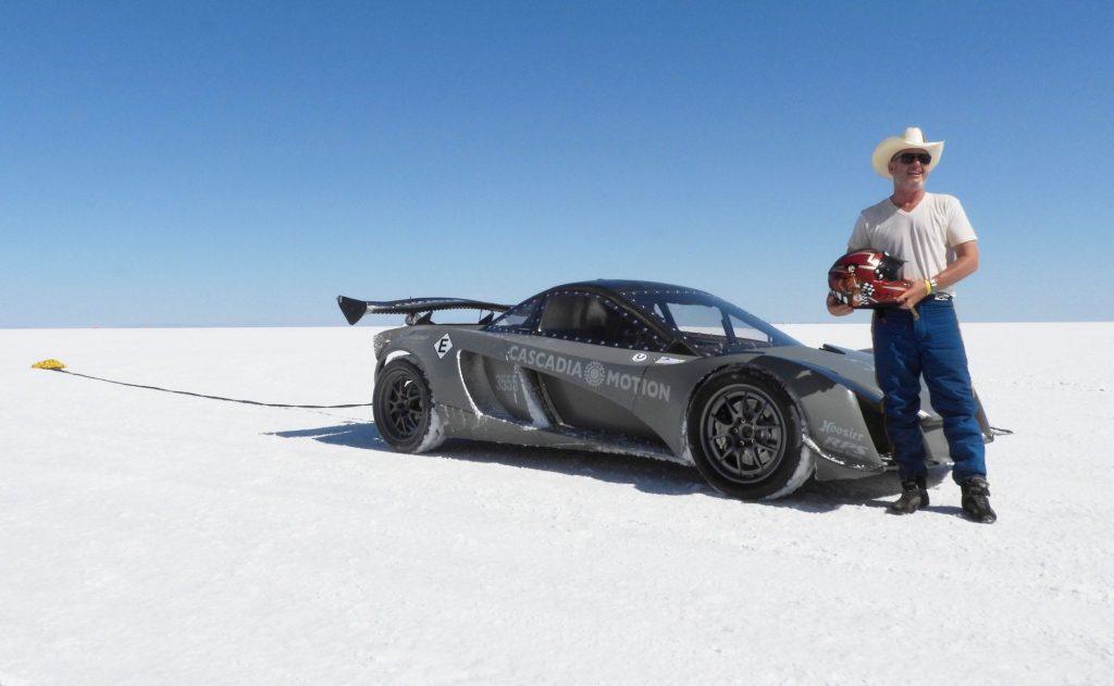 Dennis Palatov with D2 electric Cascadia Bonneville salt