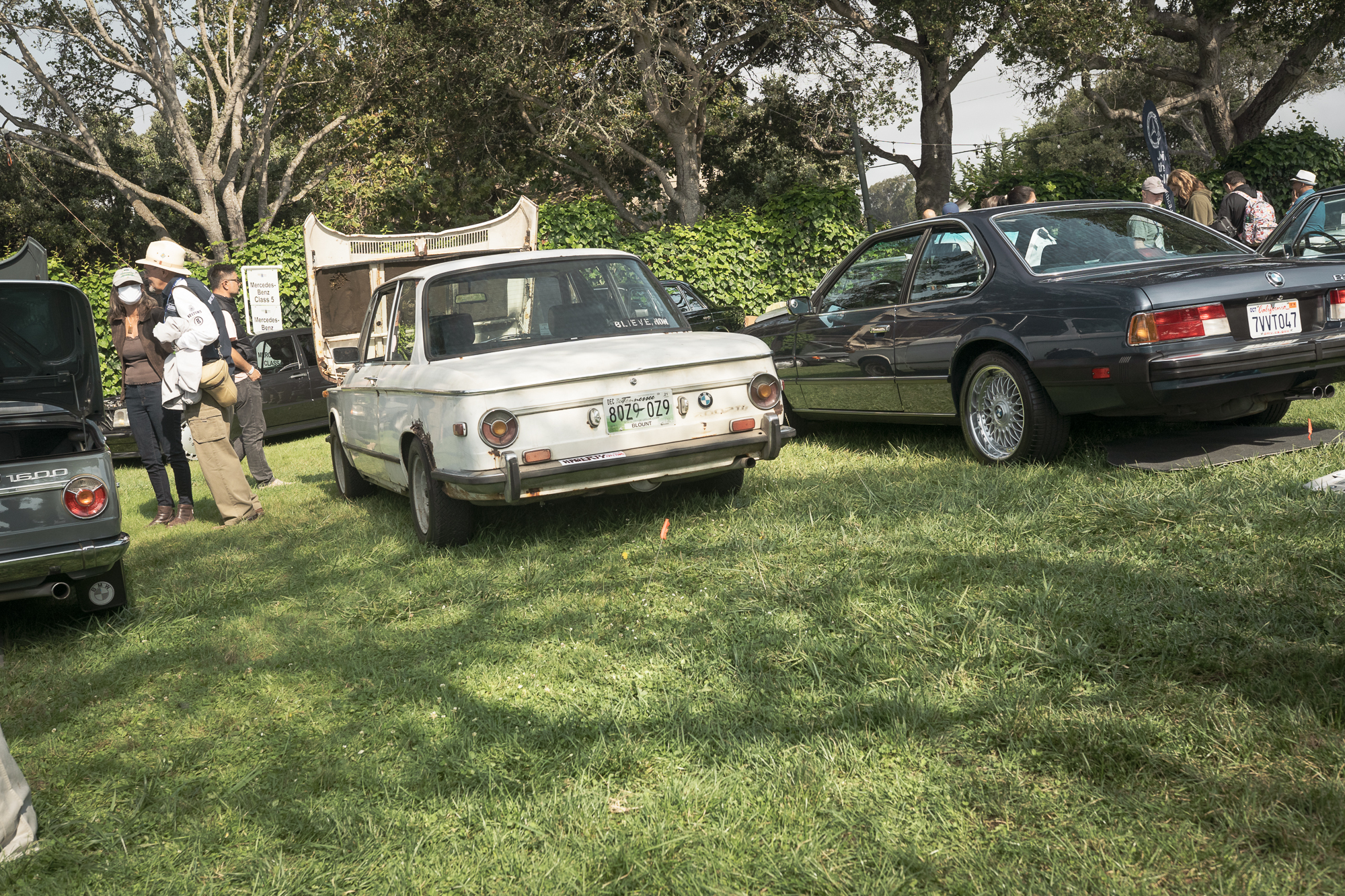 BMW 2002 parked on lawn