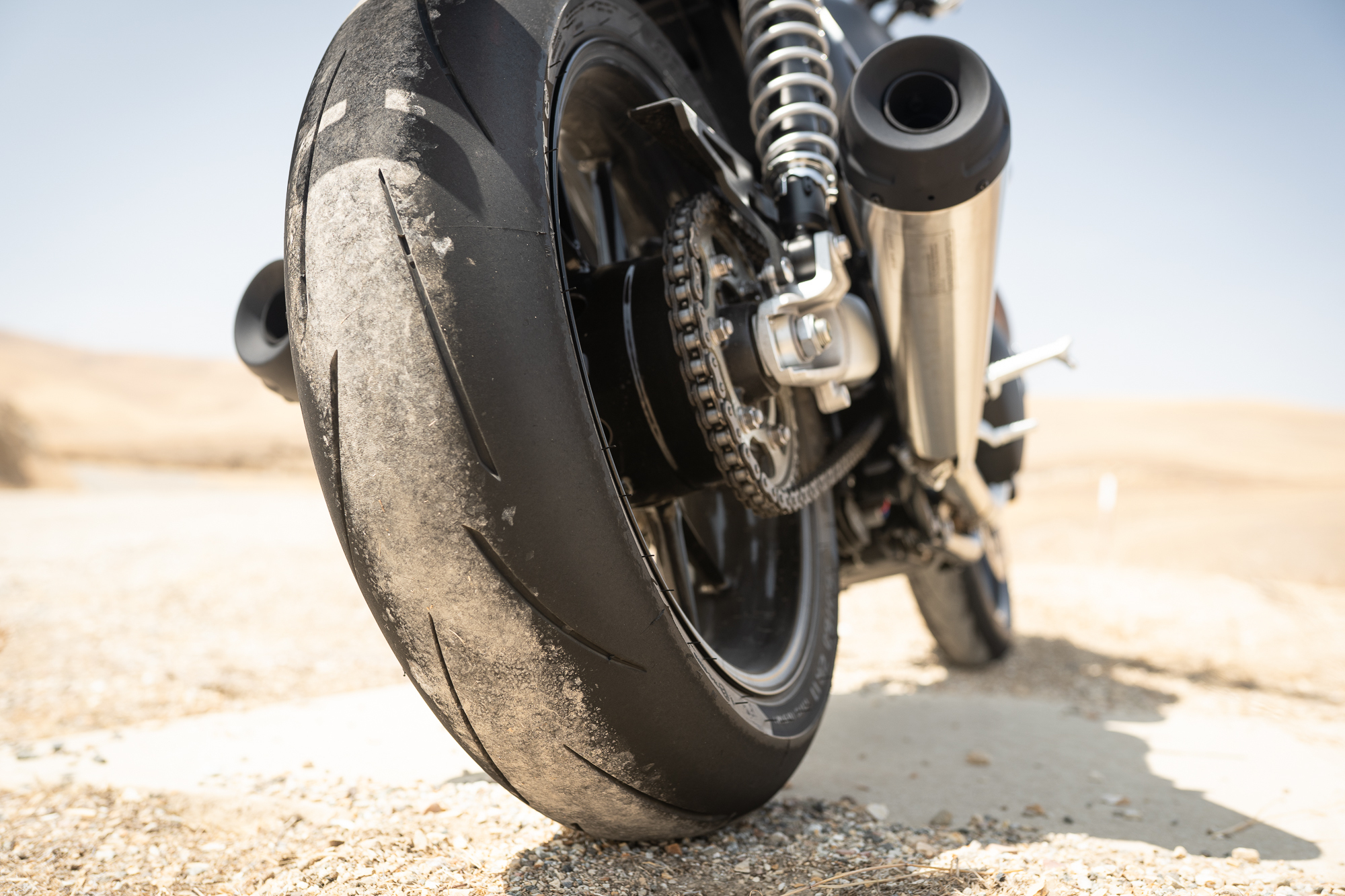 Triumph Speed Twin rear tire sprocket detail