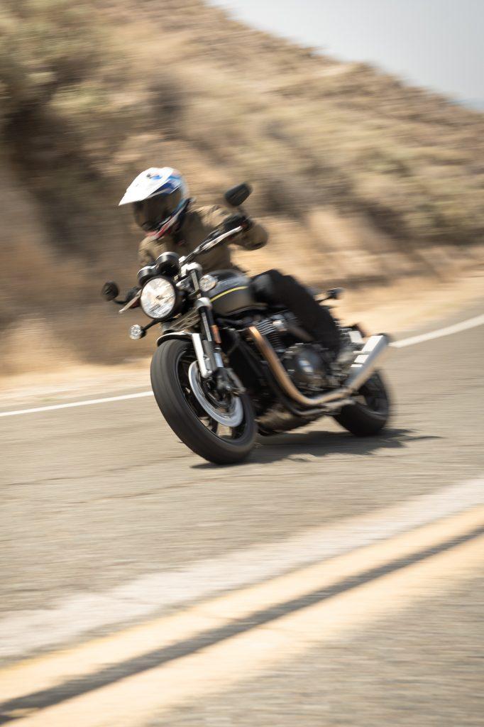 Triumph Speed Twin rider action front three-quarter vertical
