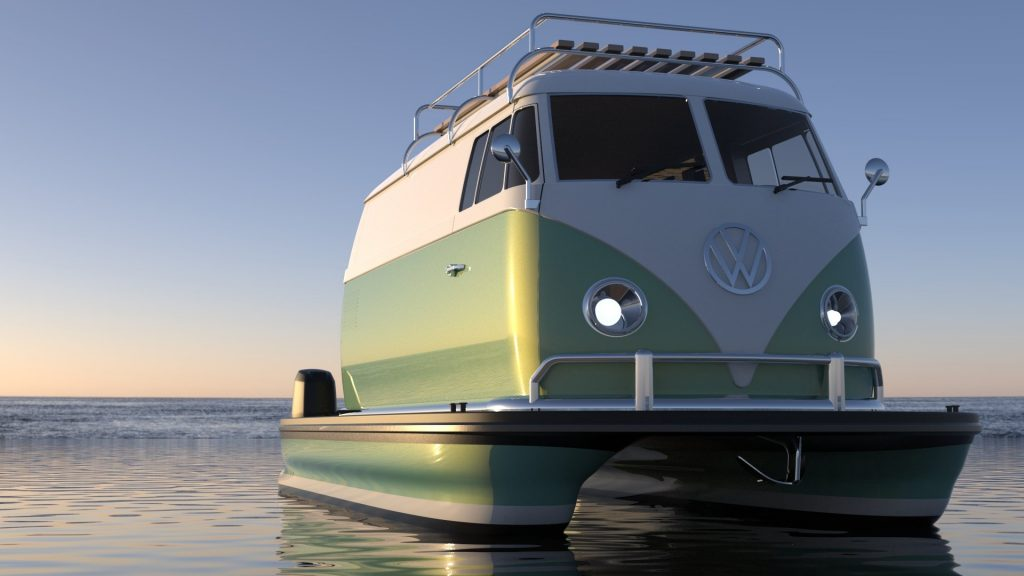 VW Bus pontoon boat front