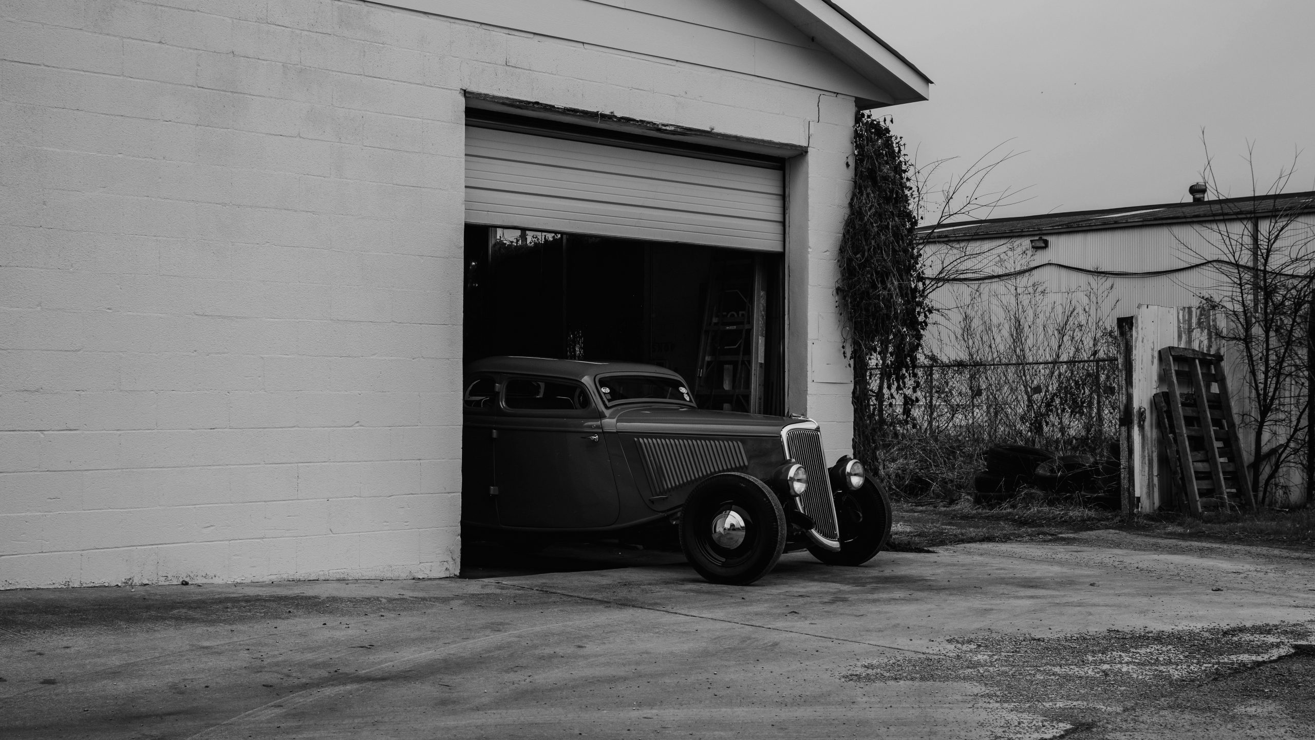 1933 Ford Coupe shop door black white