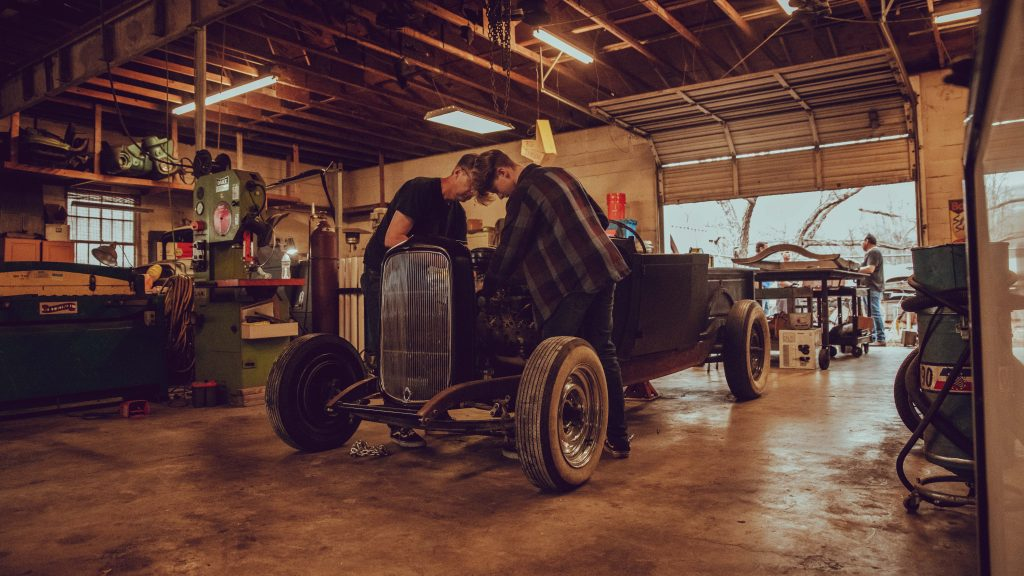 1933 Ford Coupe shop father son engine work