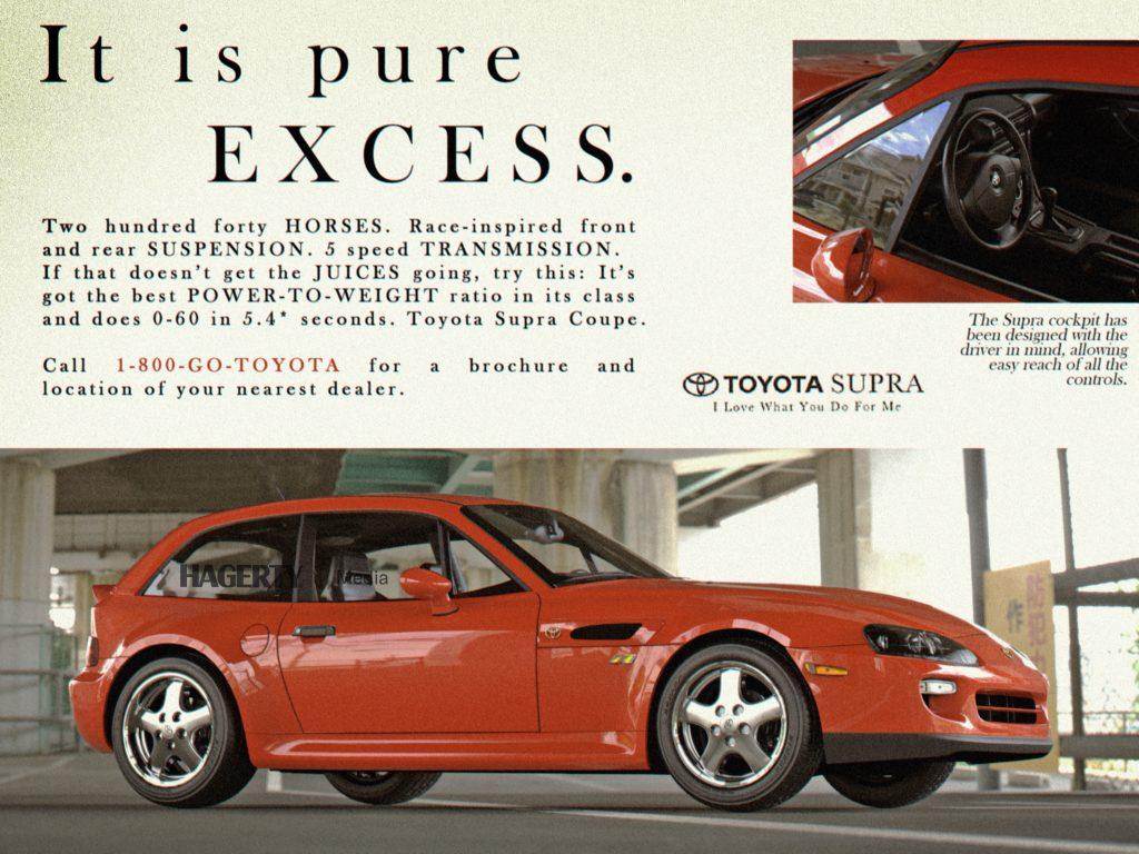 Toyota Supra BMW Z ad mockup