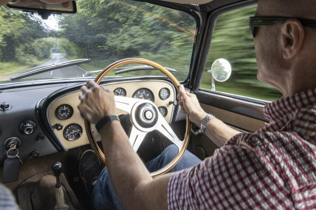 Zagato-bodied Bristol 406 interior driving action