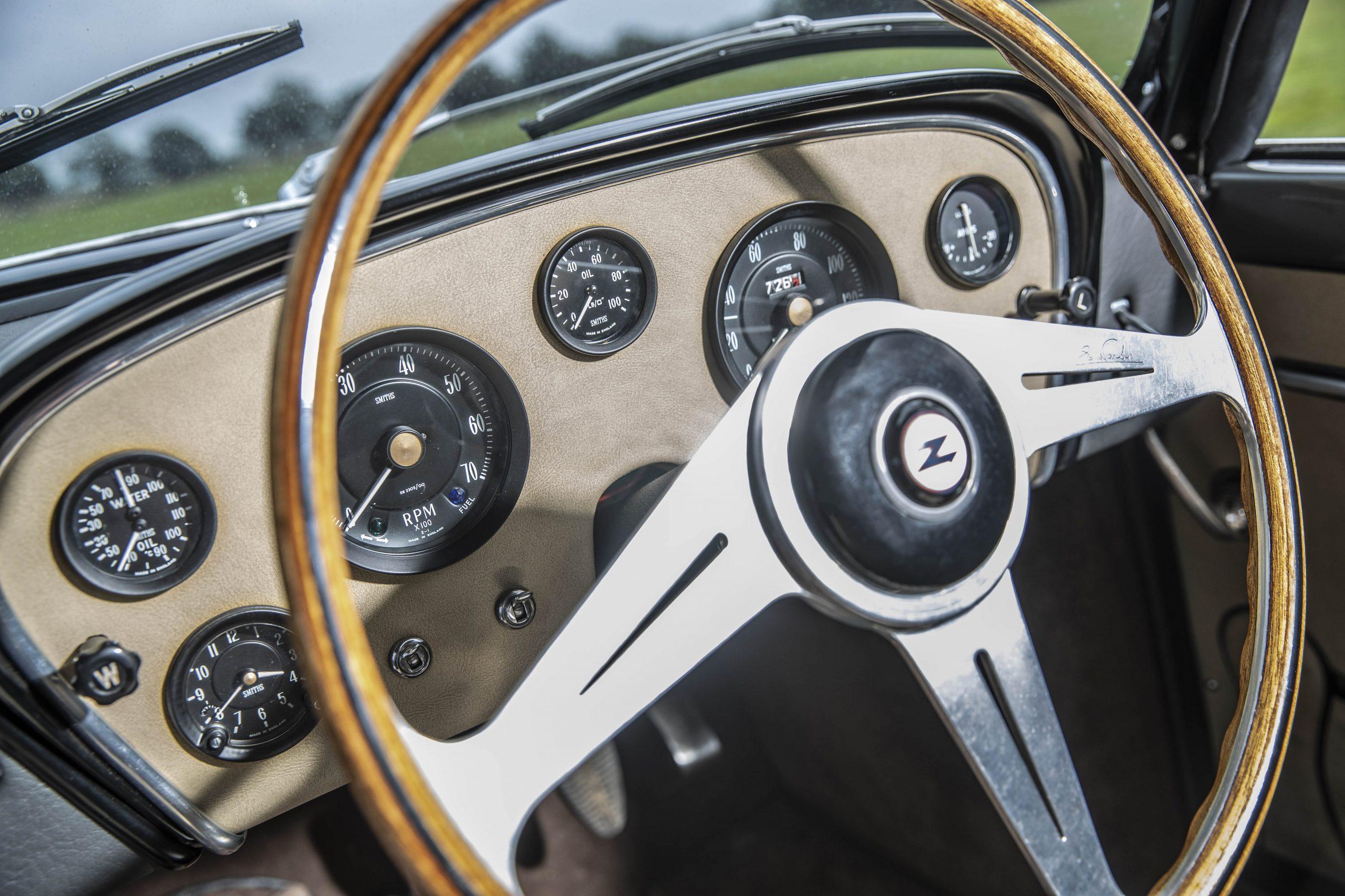 Zagato-bodied Bristol 406 wheel dash detail