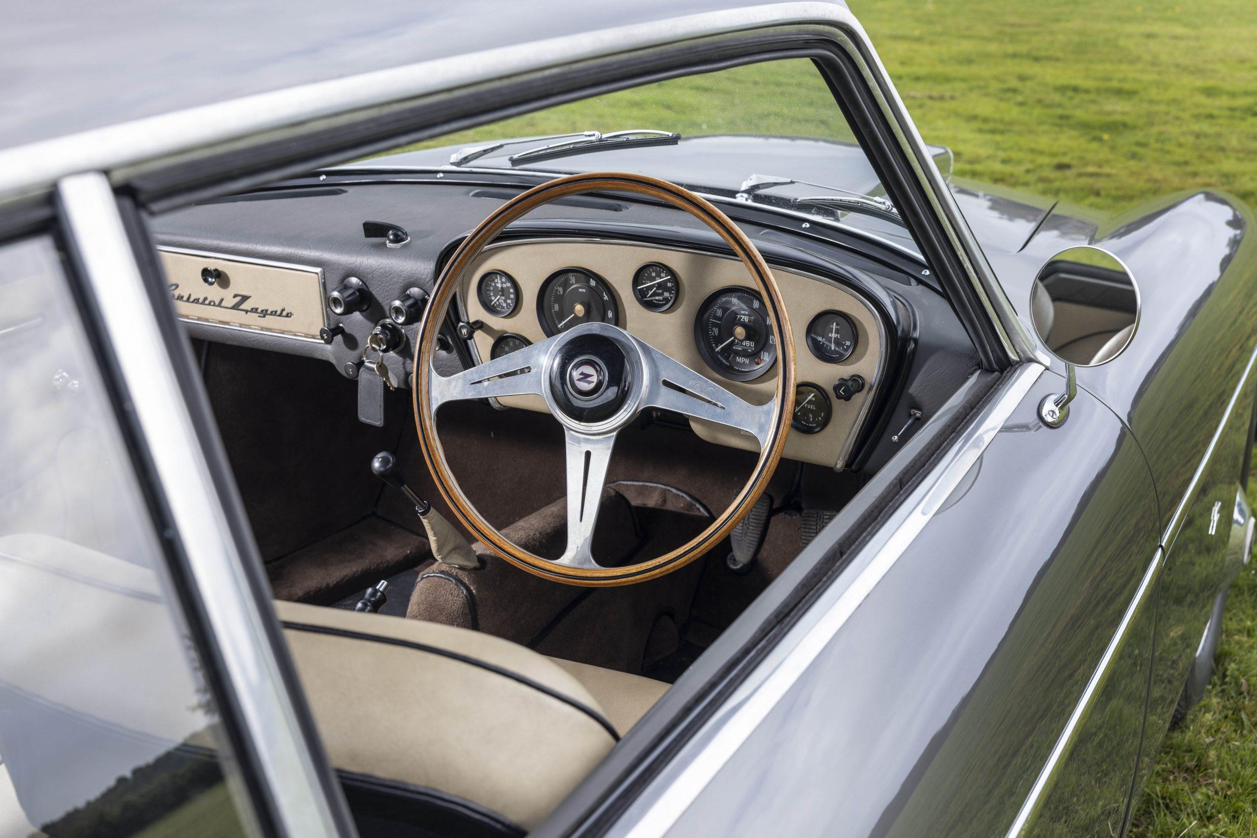 Zagato-bodied Bristol 406 interior driver cockpit