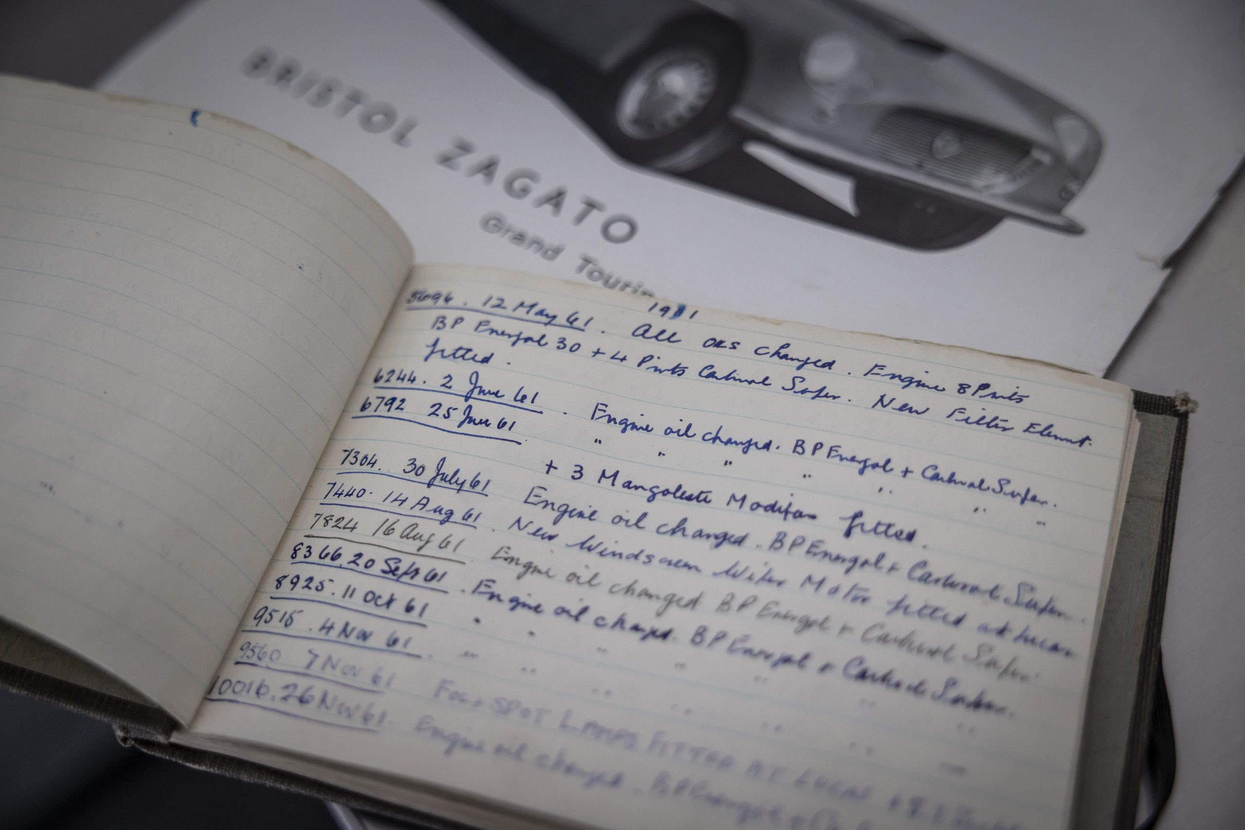 Zagato-bodied Bristol 406 log detail