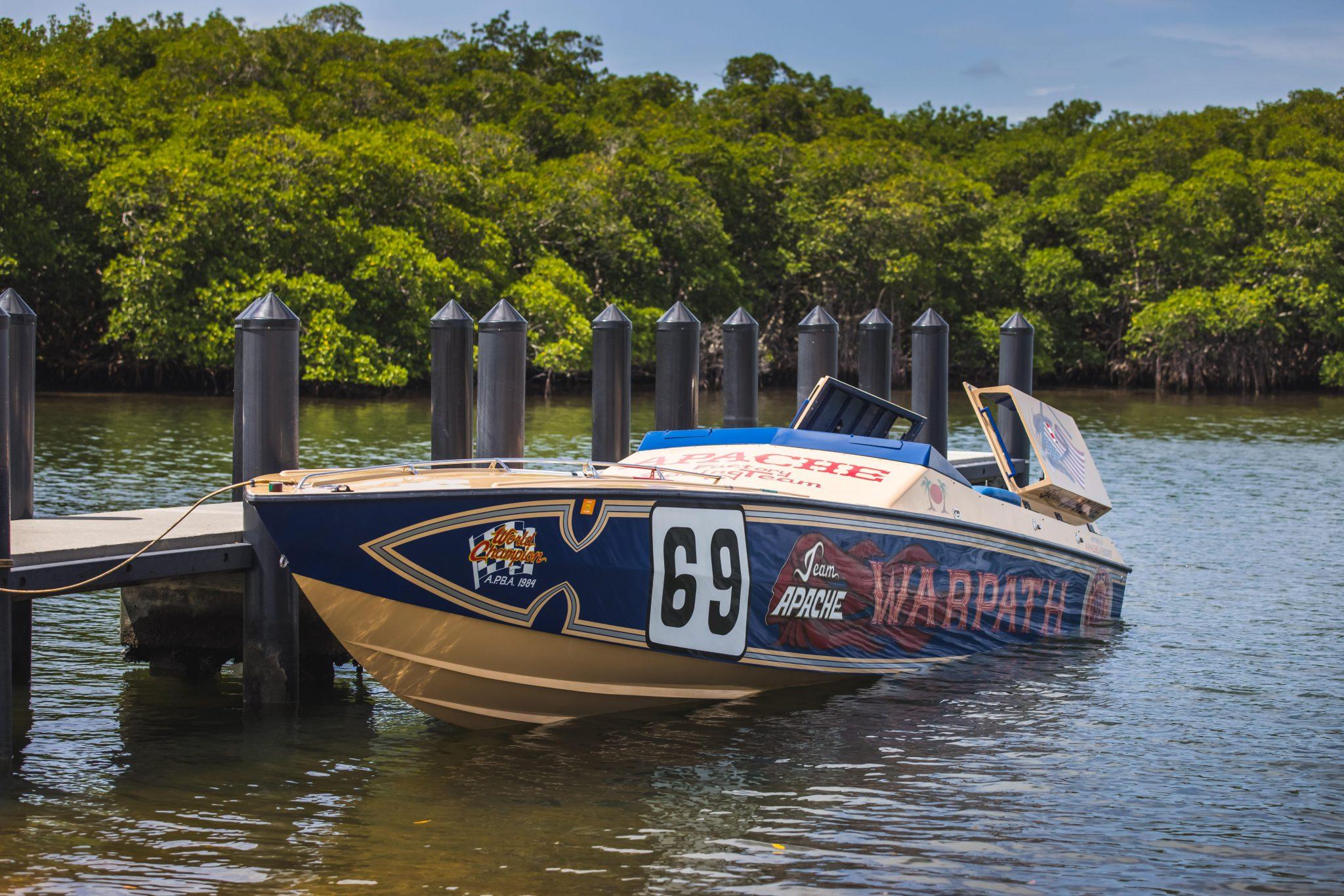 1984 Apache Offshore Powerboat Warpath front three-quarter docked