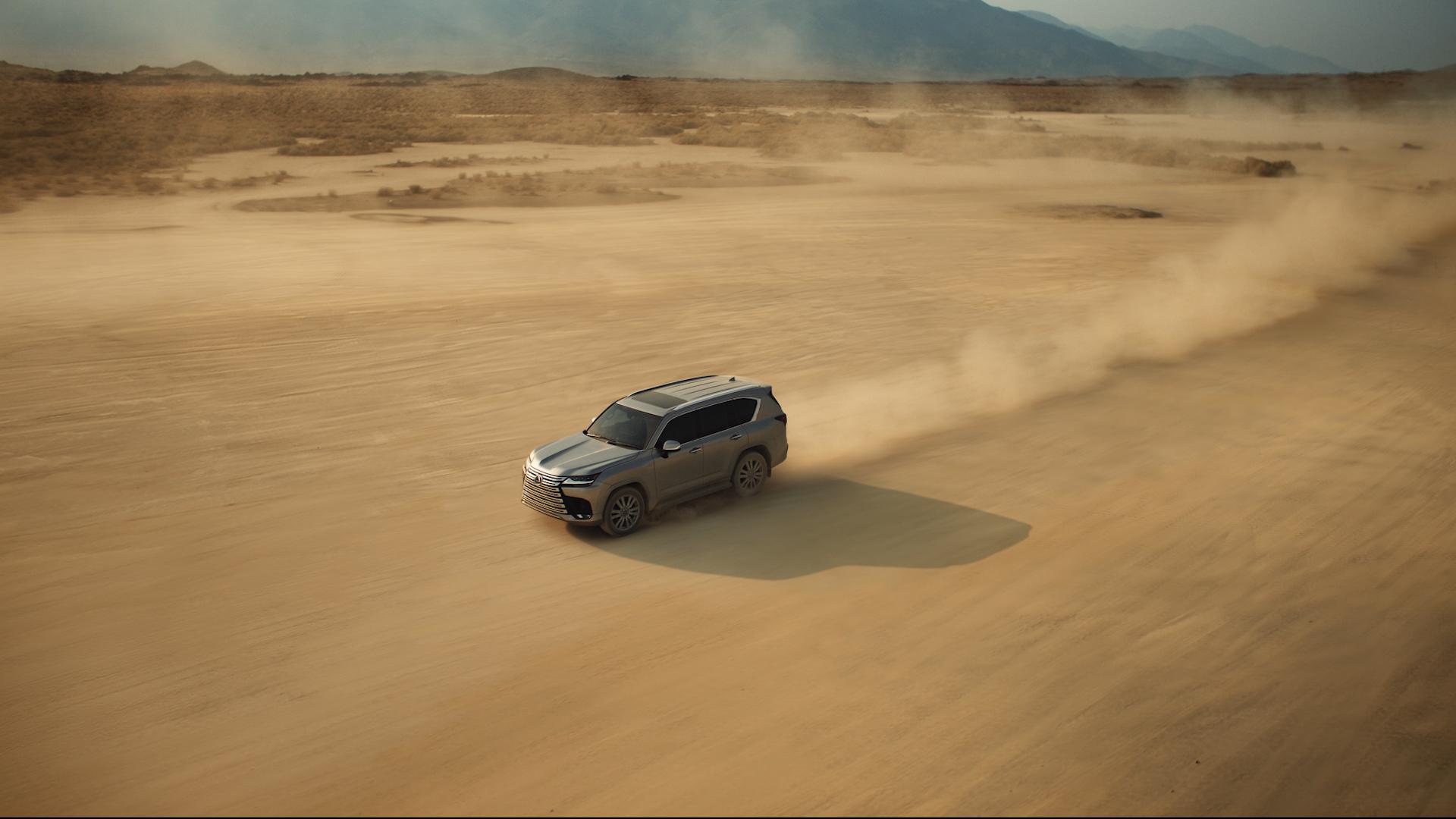 2022 Lexus LX 600 front three-quarter action wide
