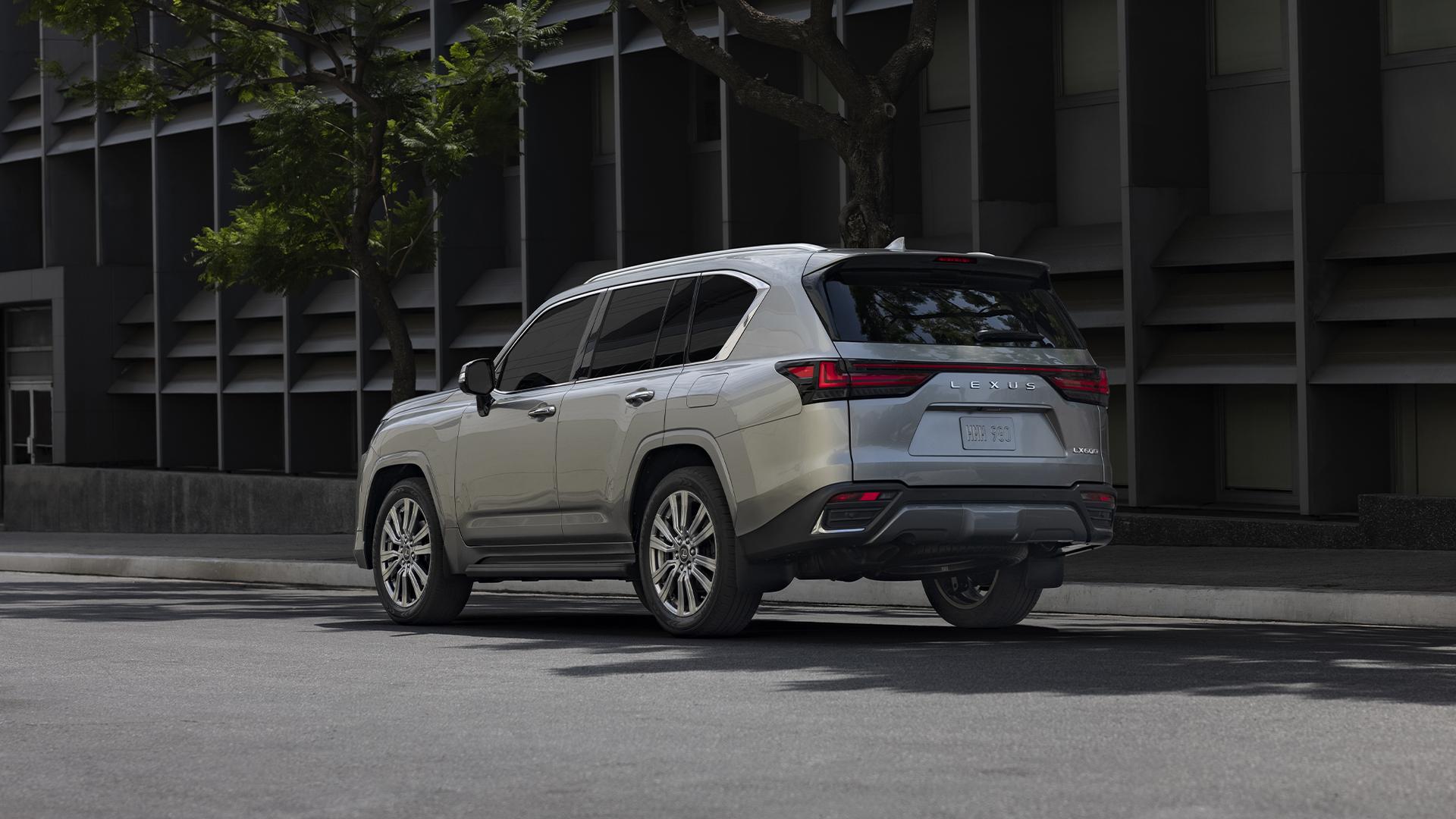 2022 Lexus LX 600 rear three-quarter action urban