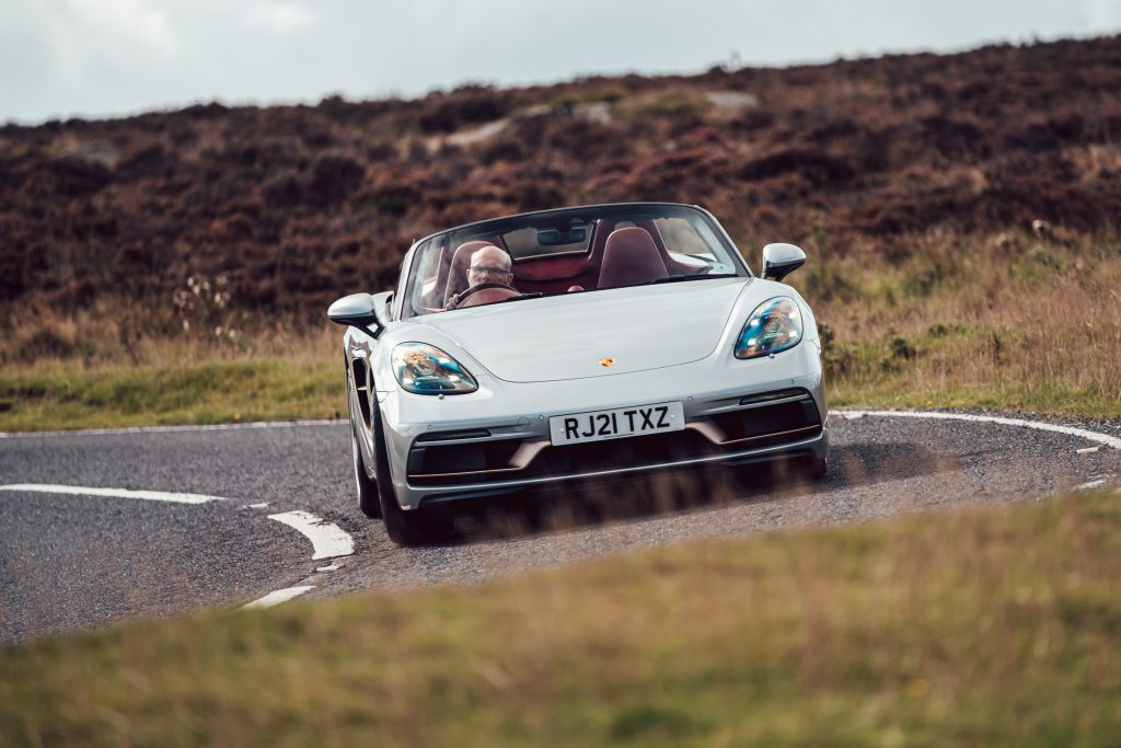 2021 Porsche Boxster 25 Years front driving action