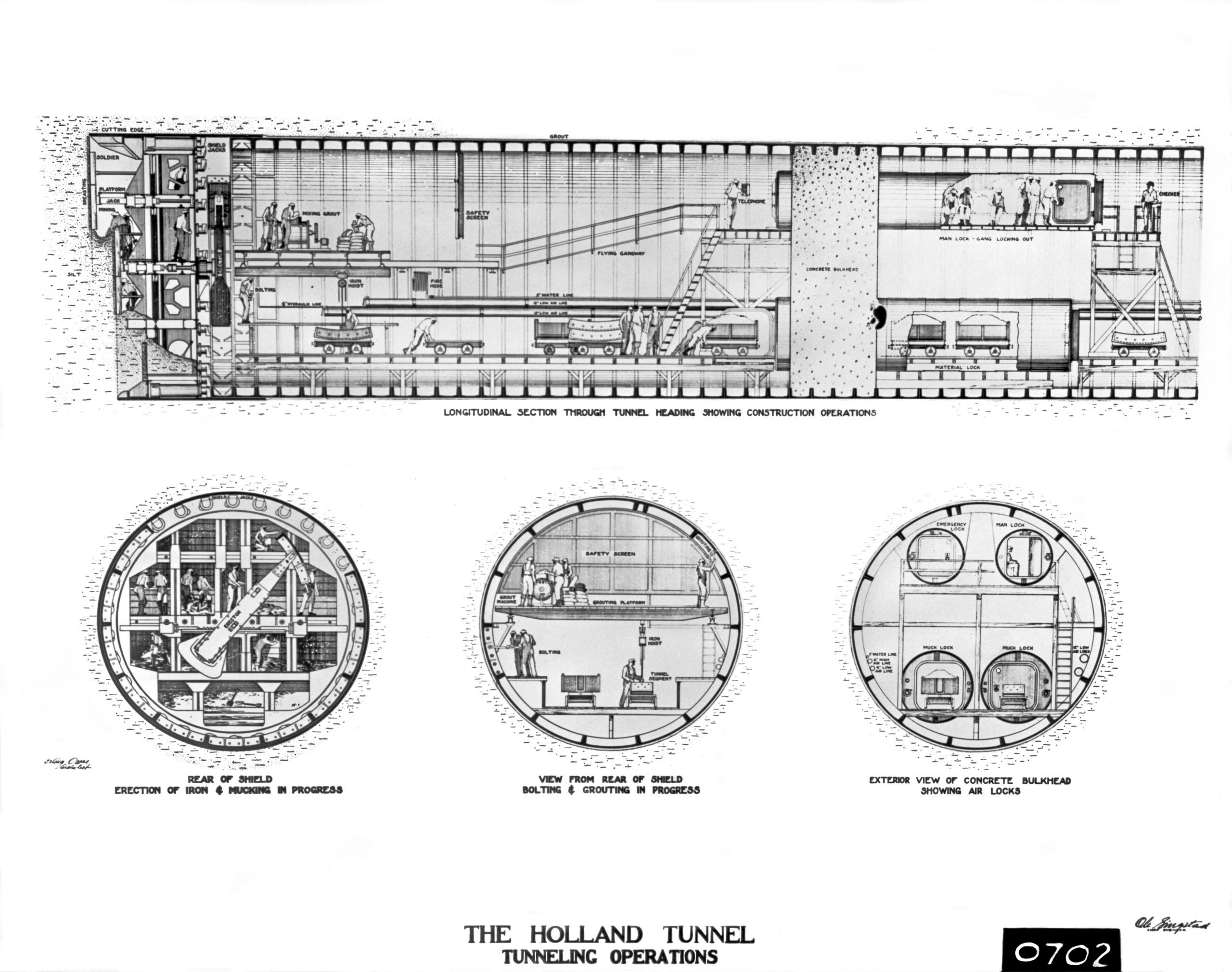 Holland Tunnel Construction Operation Drawings
