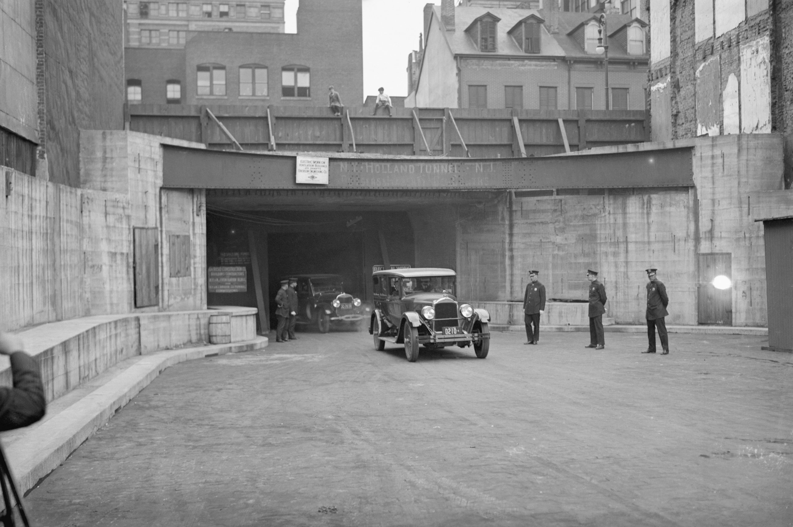First Car Coming Through Holland Tunnel on Opening Day