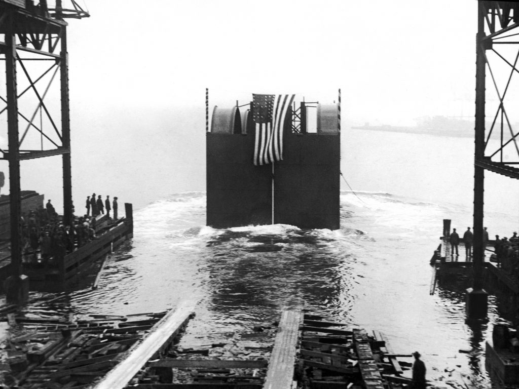 Start Of The Holland Tunnel Sinking a Caisson