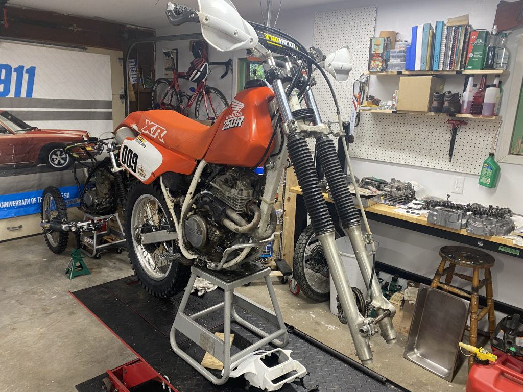XR250 with front end ready to pull