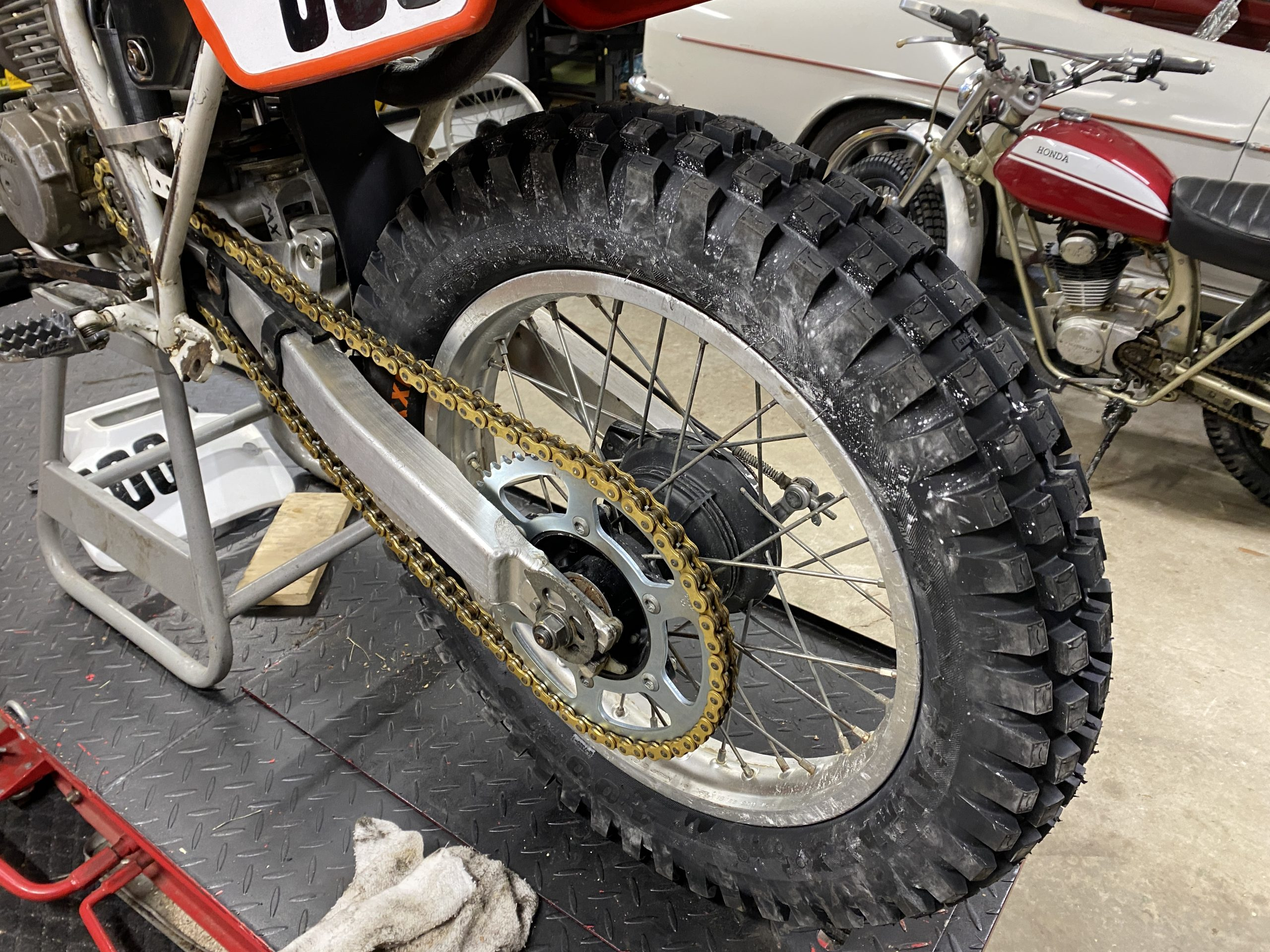 trials tire installed on XR250