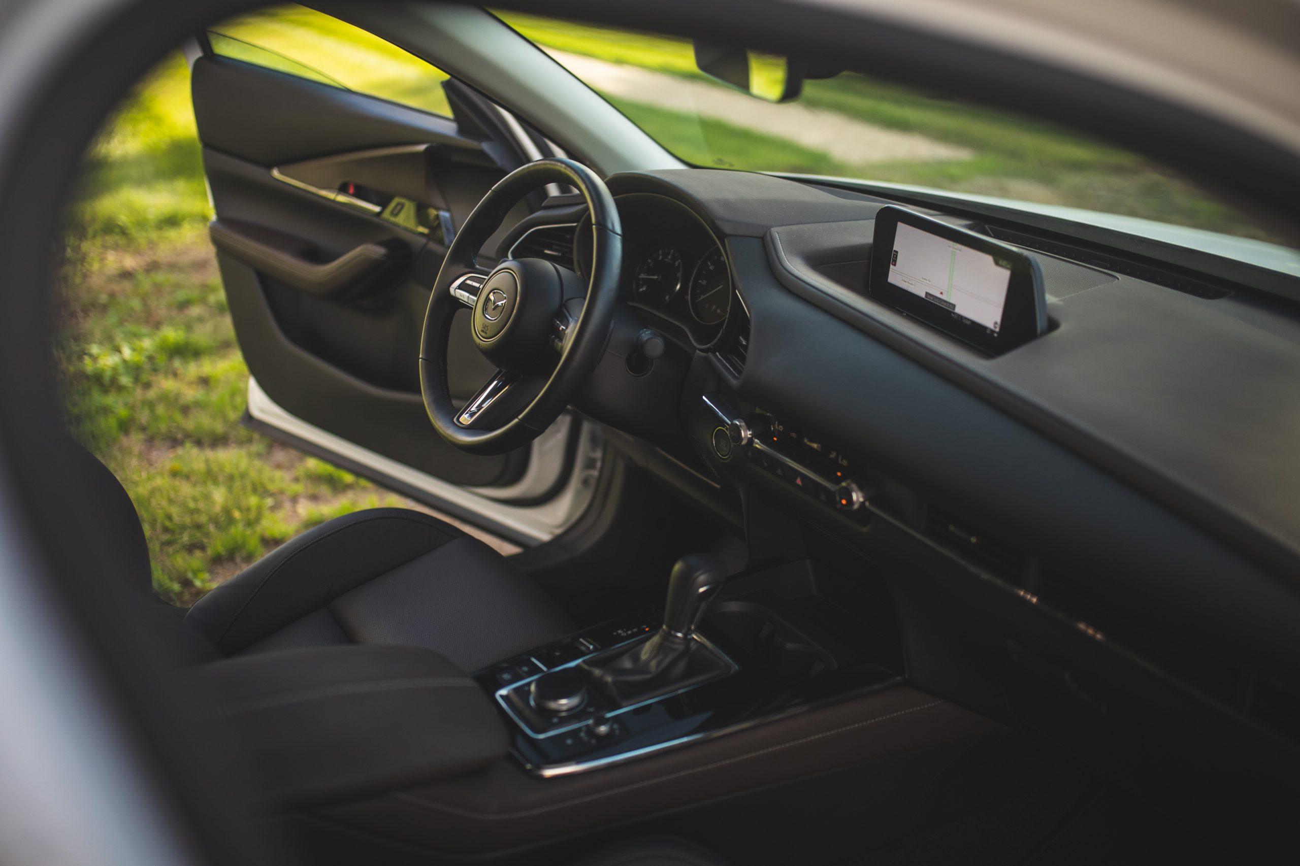 Mazda CX30 interior front through passenger door