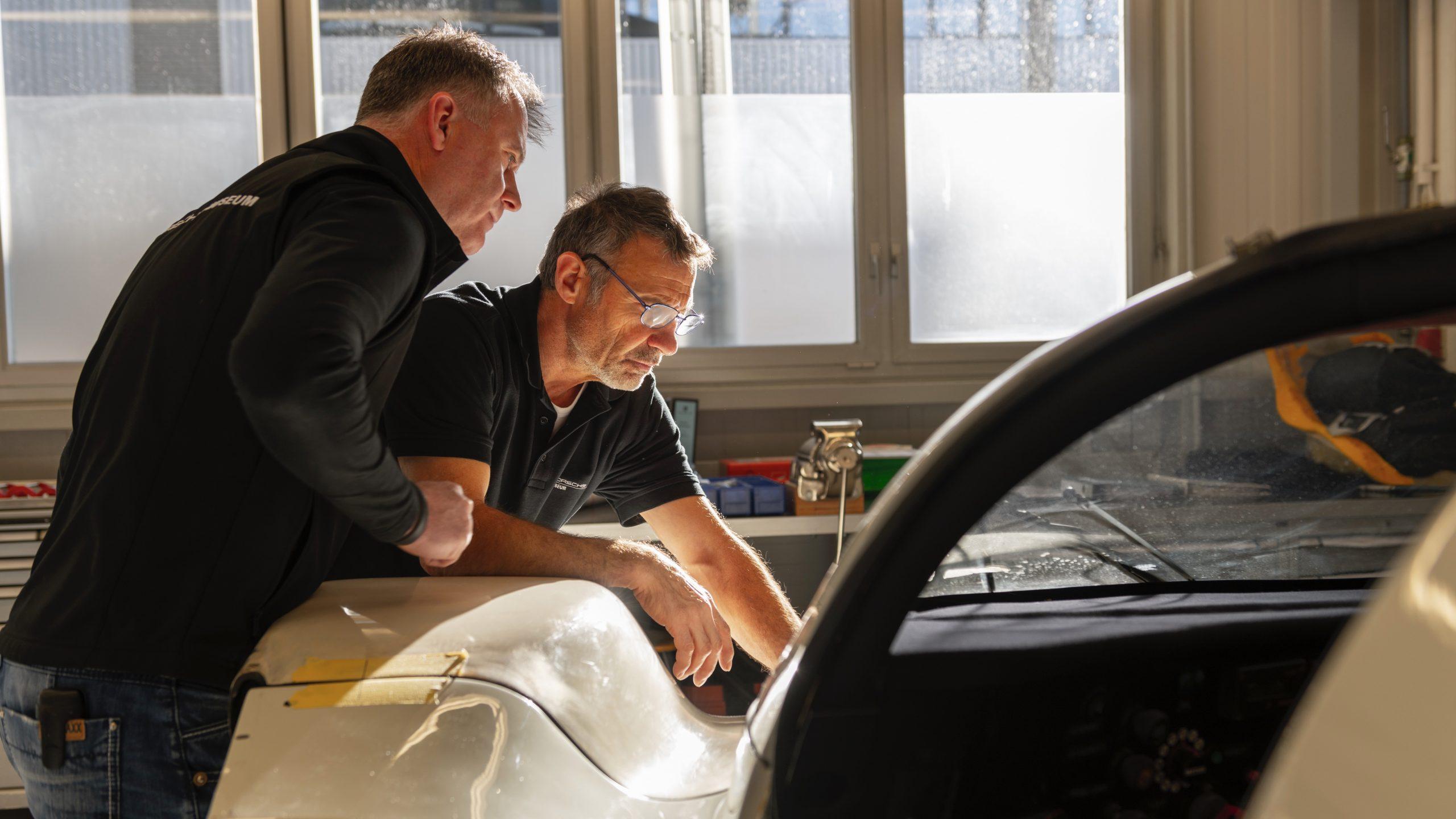 Porsche 962 C restoration process Armin Burger and Berthold Brecht