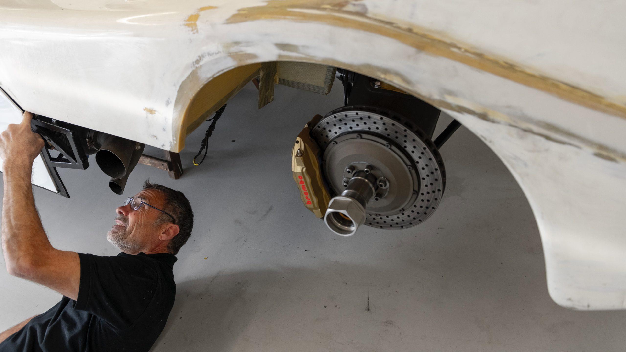 Porsche 962 C restoration process exposed brake