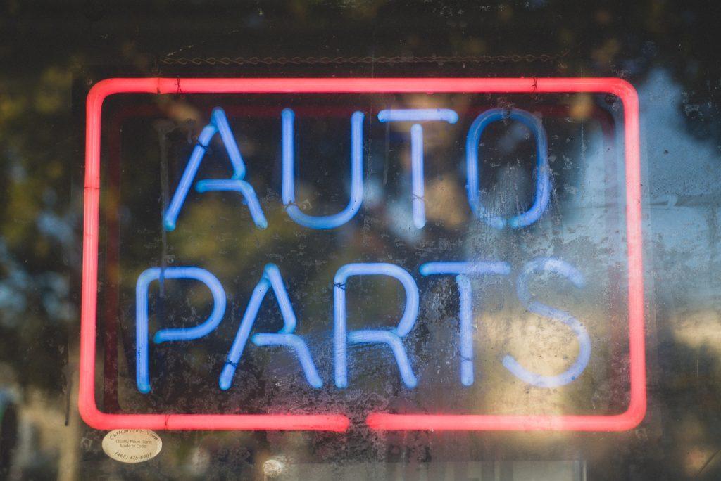 auto parts neon sign