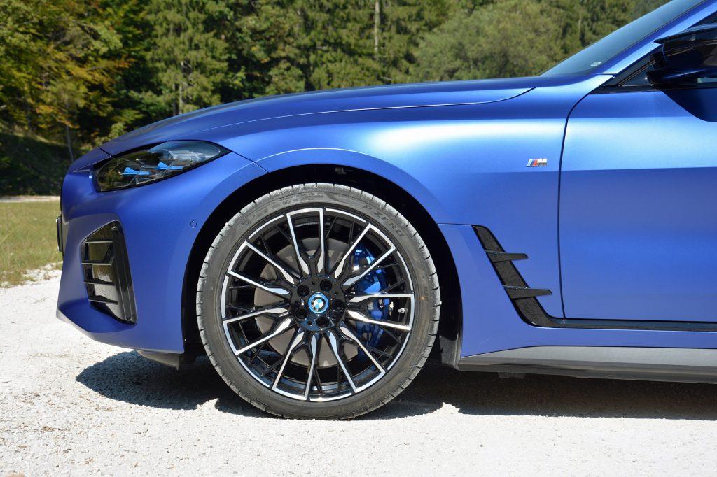 2022 BMW i4 M50 front end side profile