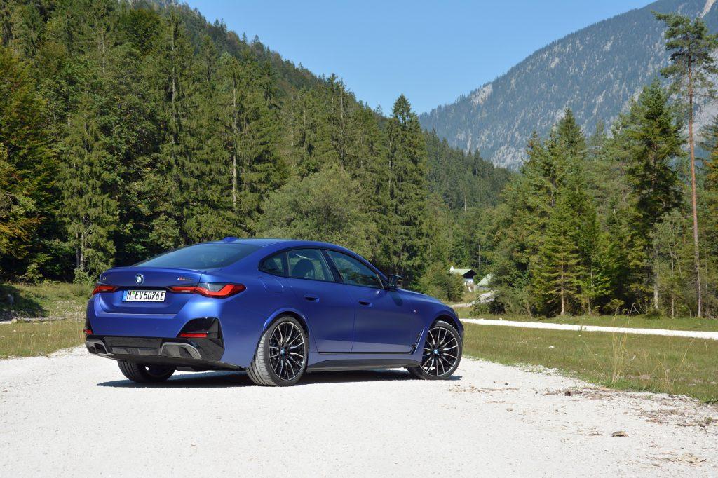 2022 BMW i4 M50 rear three-quarter
