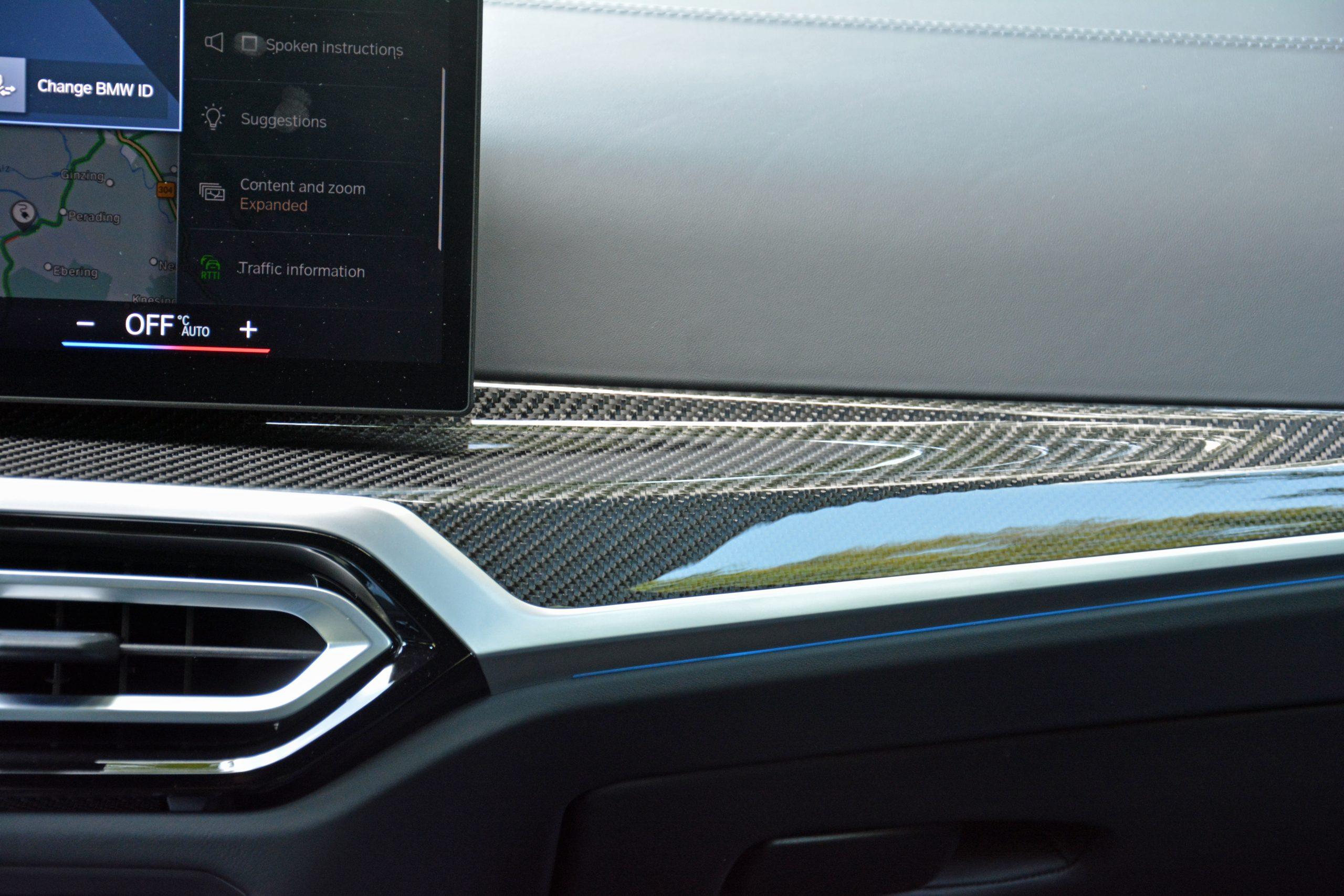 2022 BMW i4 M50 interior carbon fiber dash trim