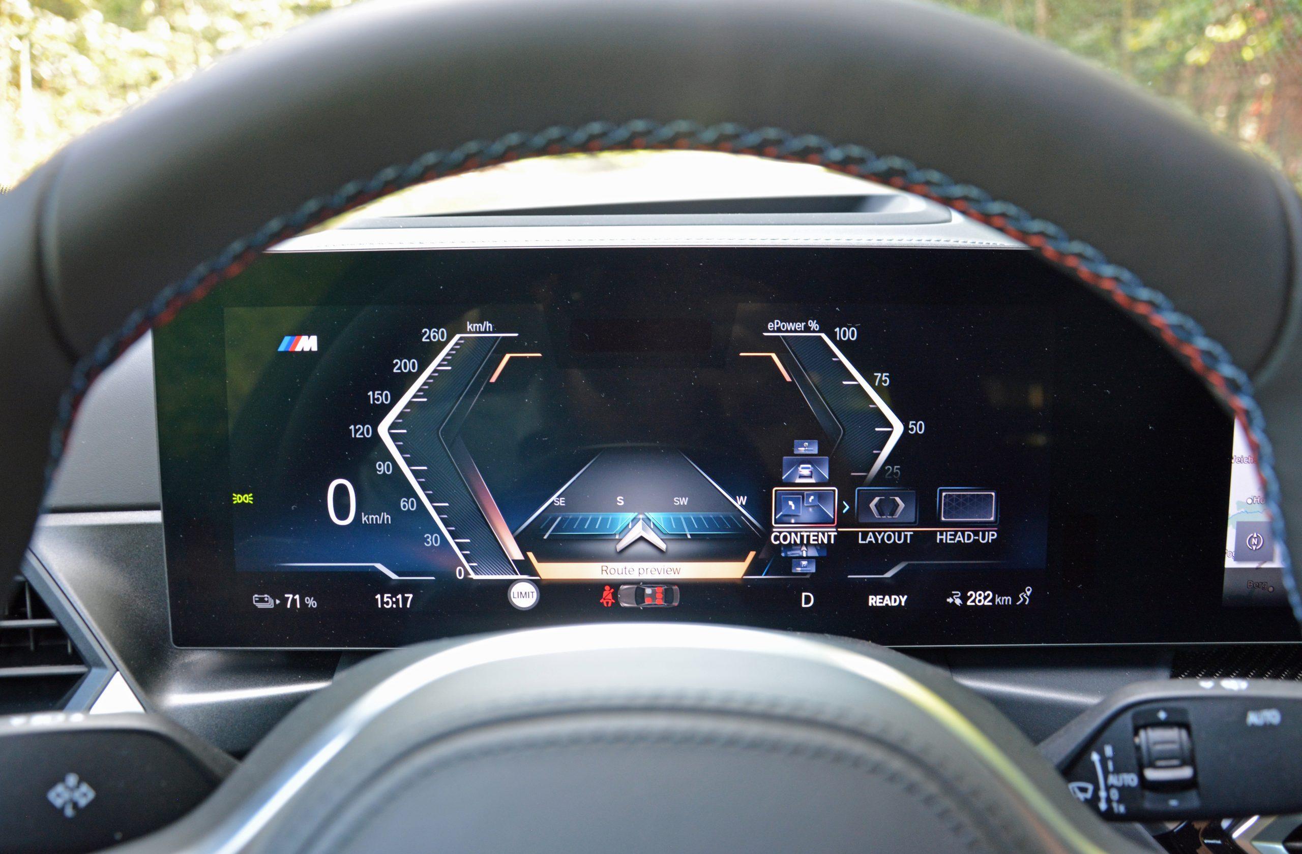 2022 BMW i4 M50 interior digital driver display compass
