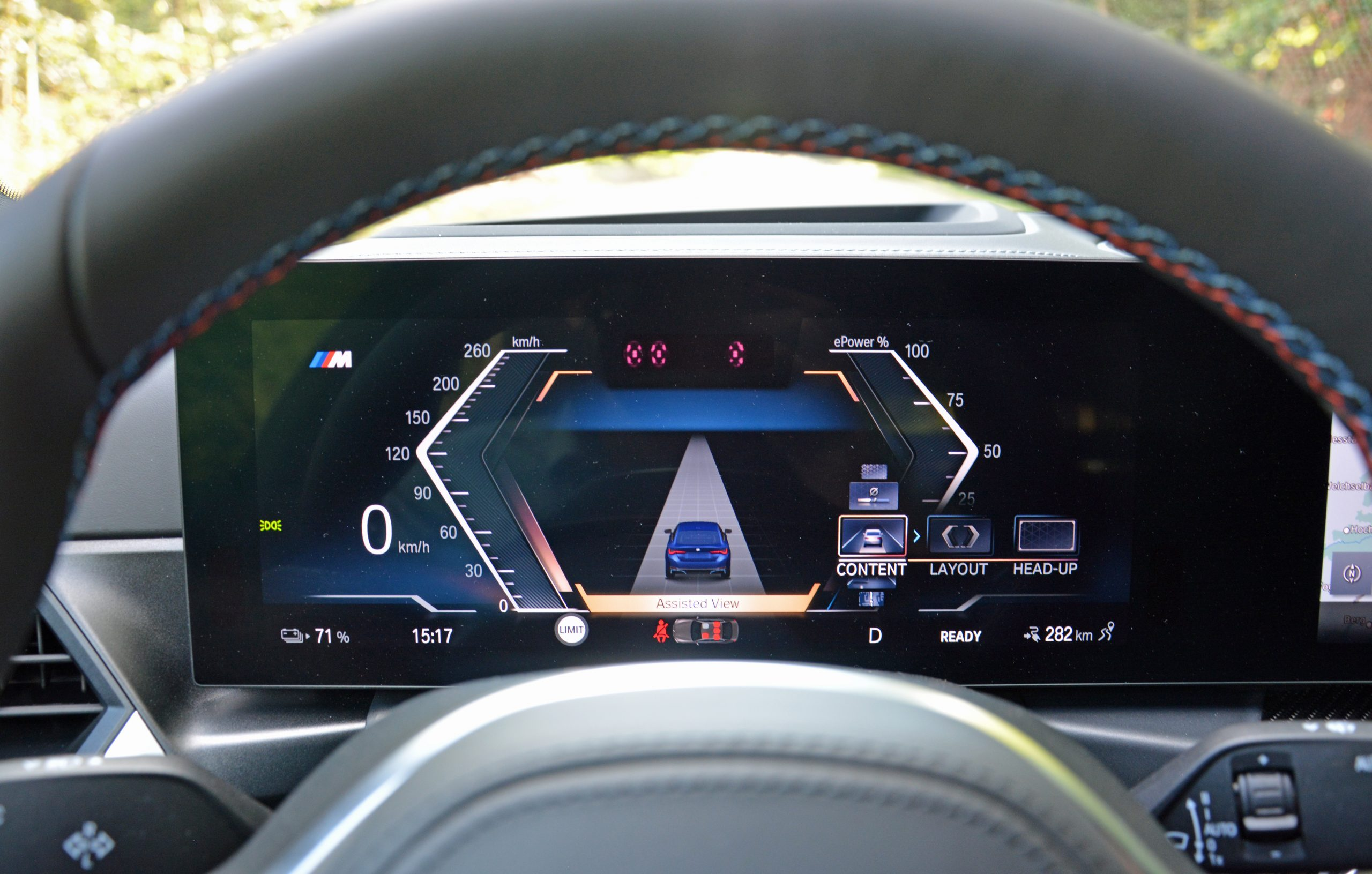 2022 BMW i4 M50 interior digital driver display assisted view