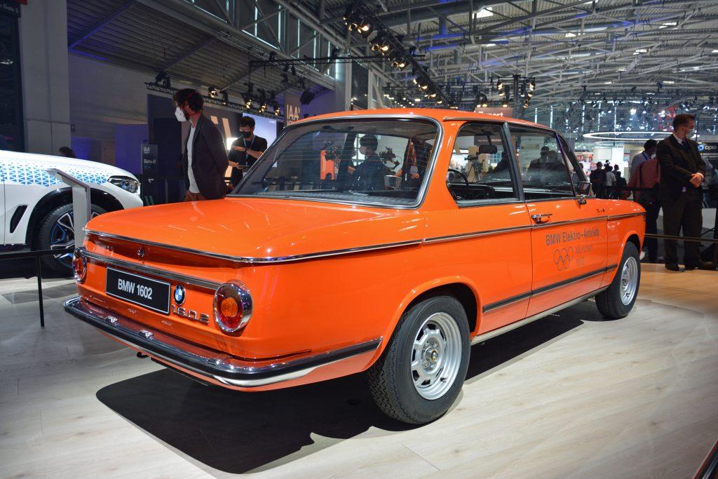 1972 BMW 1602 electric car rear three-quarter