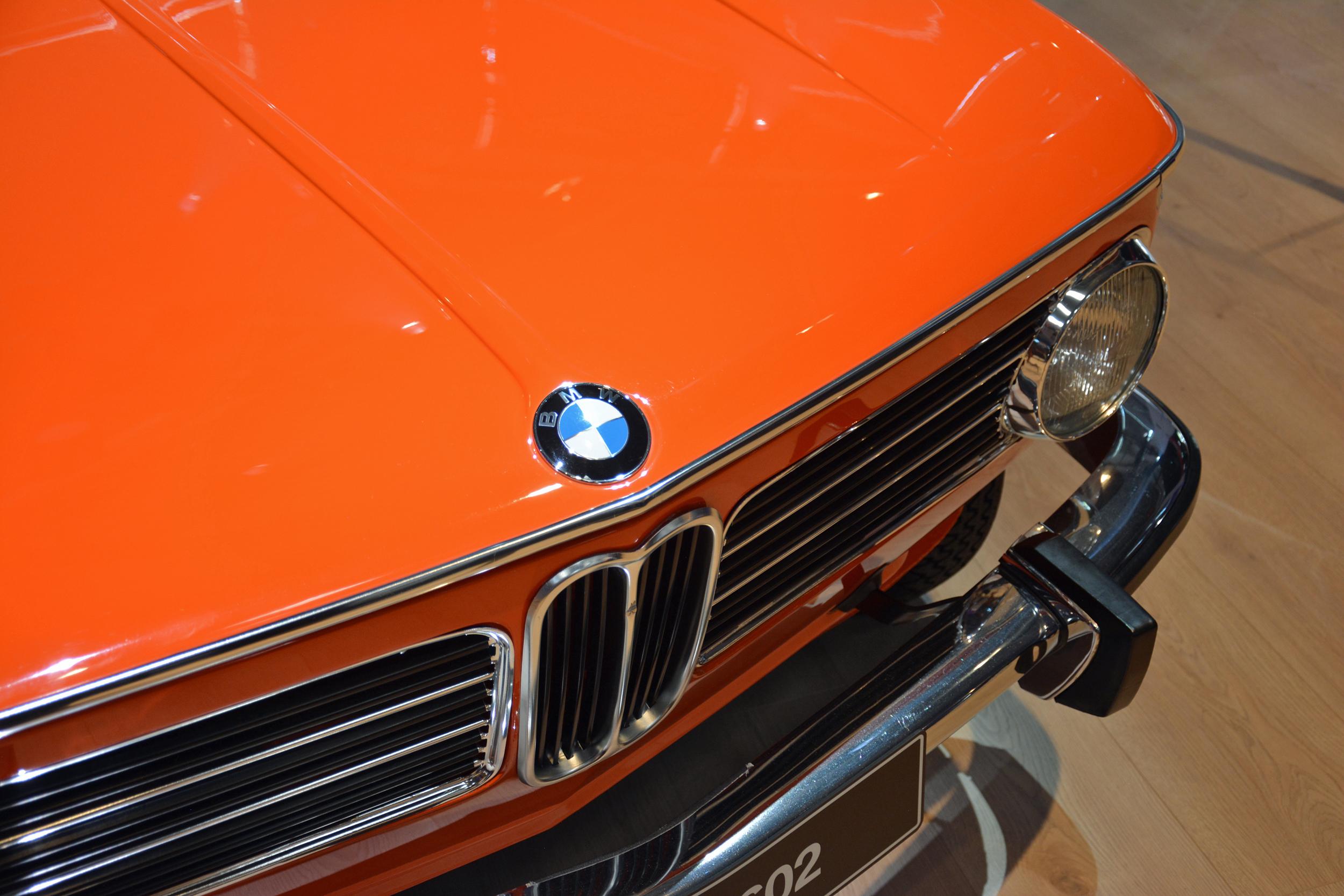 1972 BMW 1602 electric car front end emblem