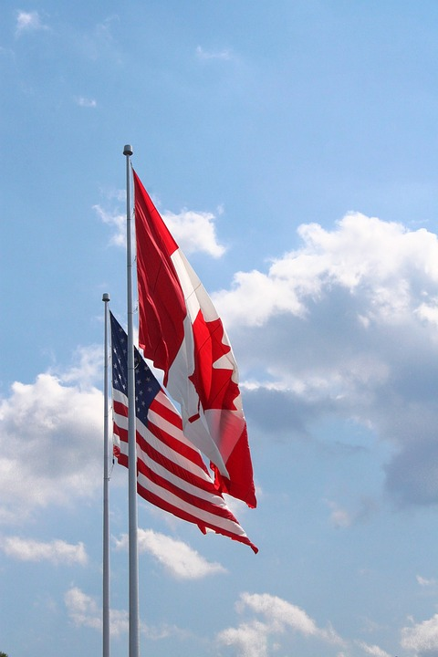 USA-Canada flags