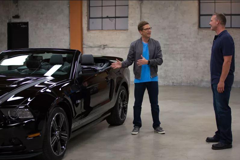 Spike Feresten showing off a Mustang on Car Matchmaker