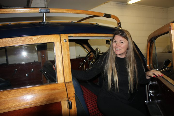 Deb Powless in her 1947 Chrysler Town & Country