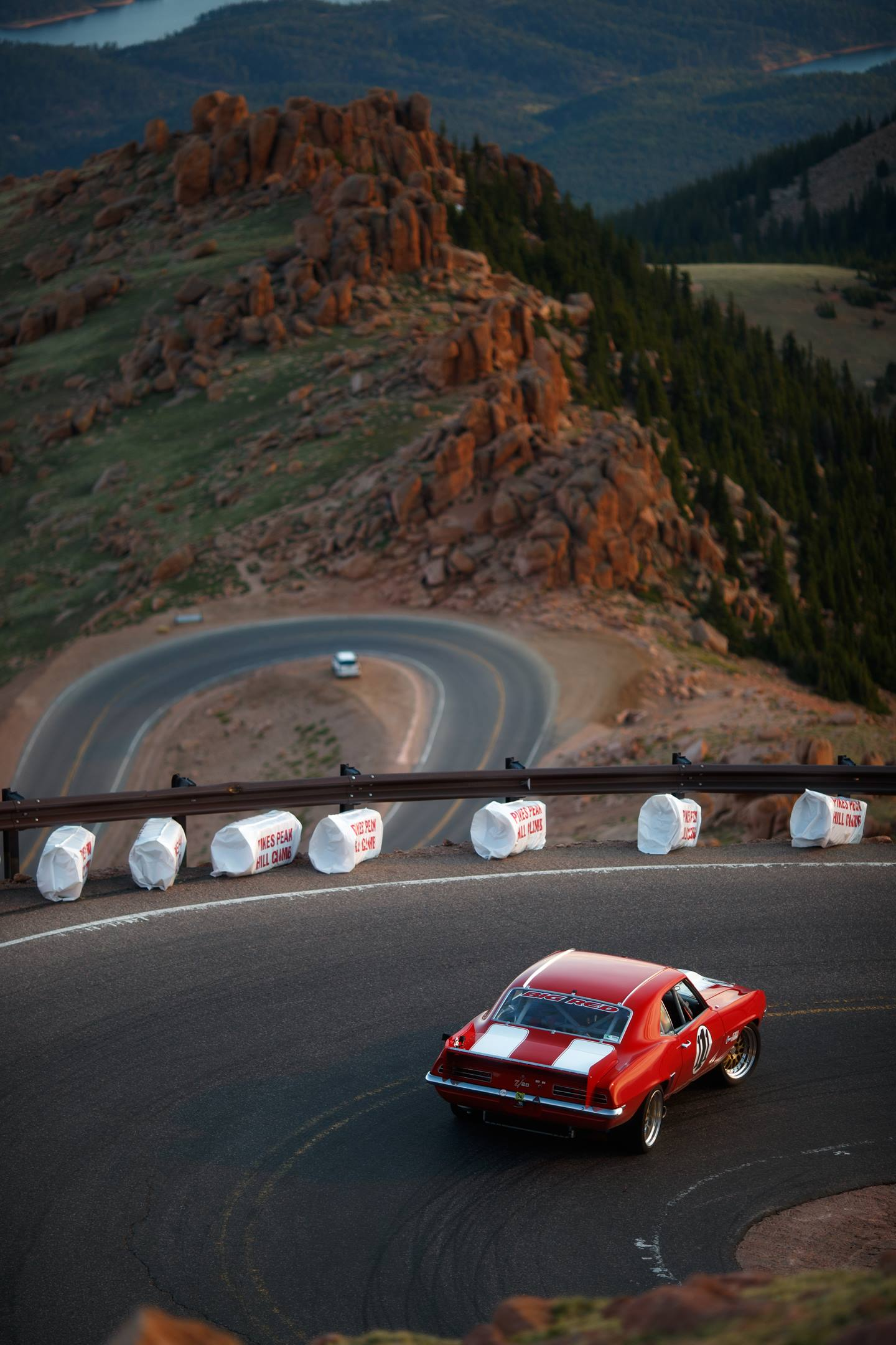 Big Red takes on the ribbons of mountain road at Pikes Peak.