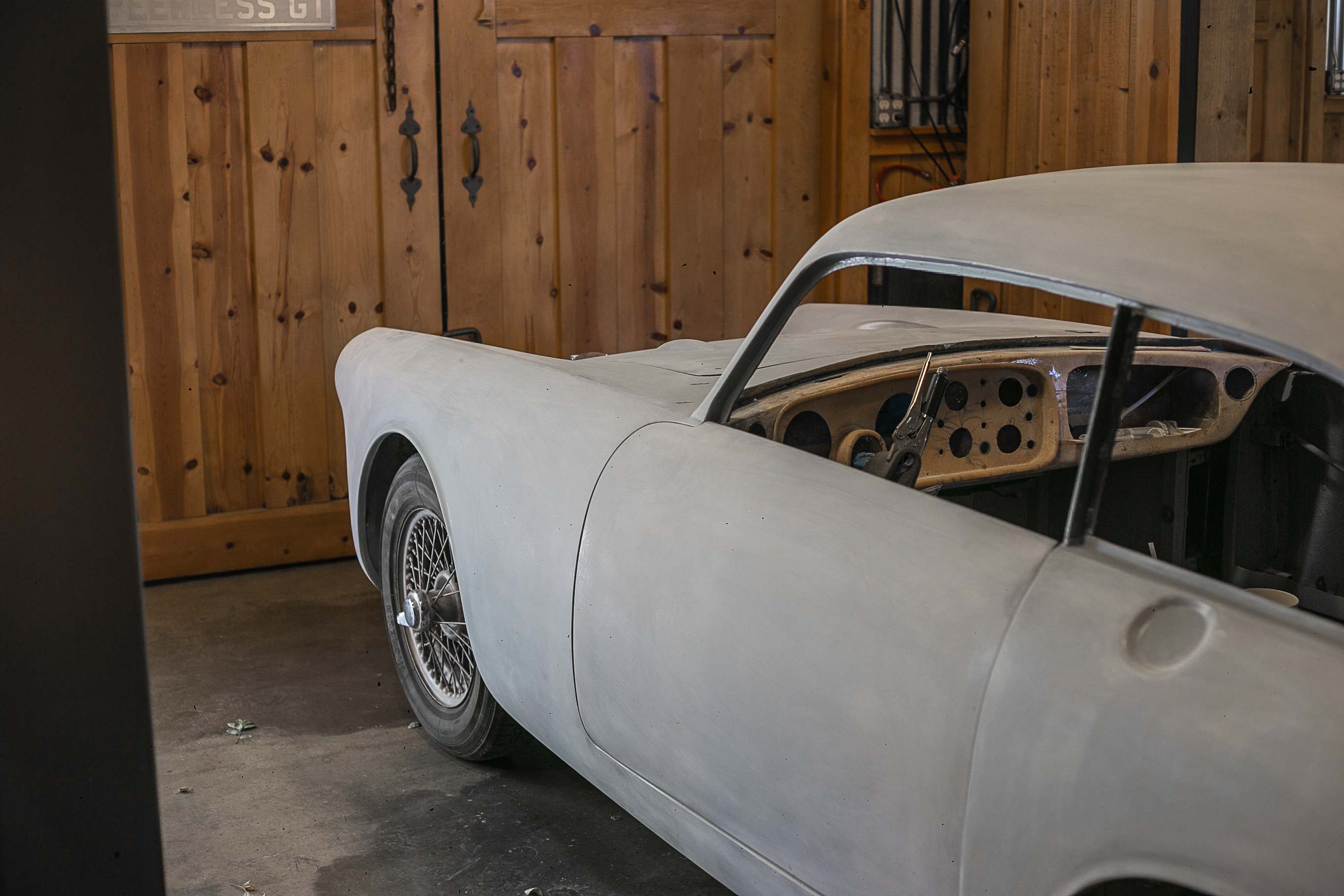 A 1959 Peerless GT awaits paint in the Caccavo garage in Thousand Oaks, California.