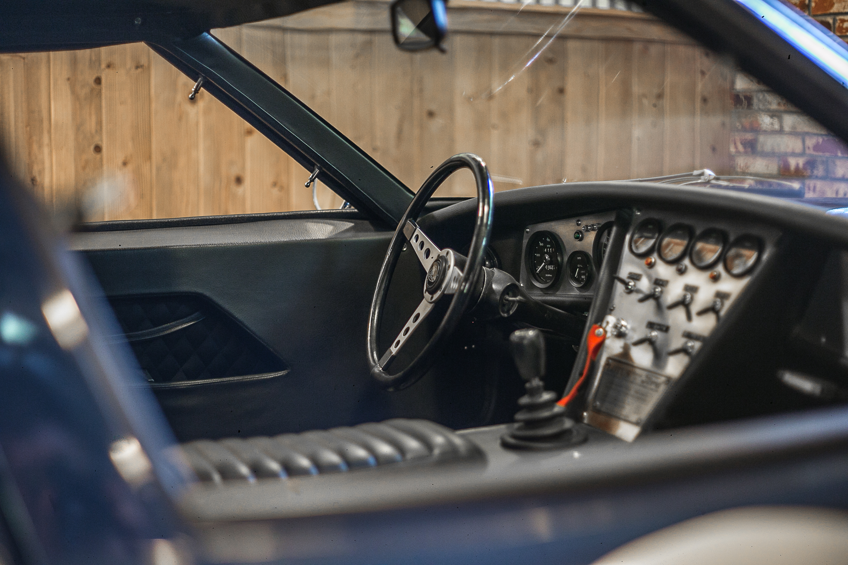 The interior of a 1970 Lotus Europa at the Caccavo garage in Thousand Oaks, California.
