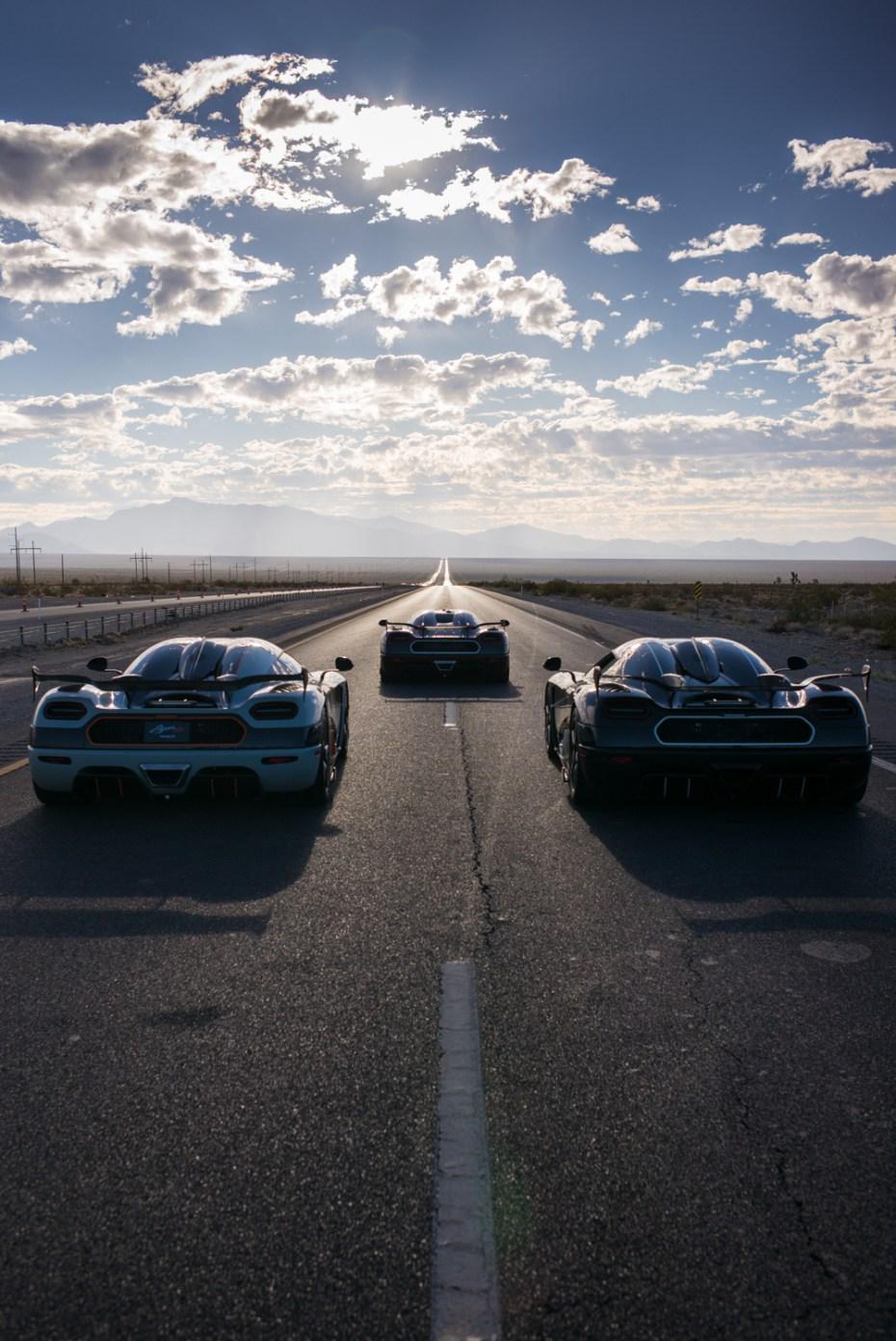 a trio of Koenigseggs