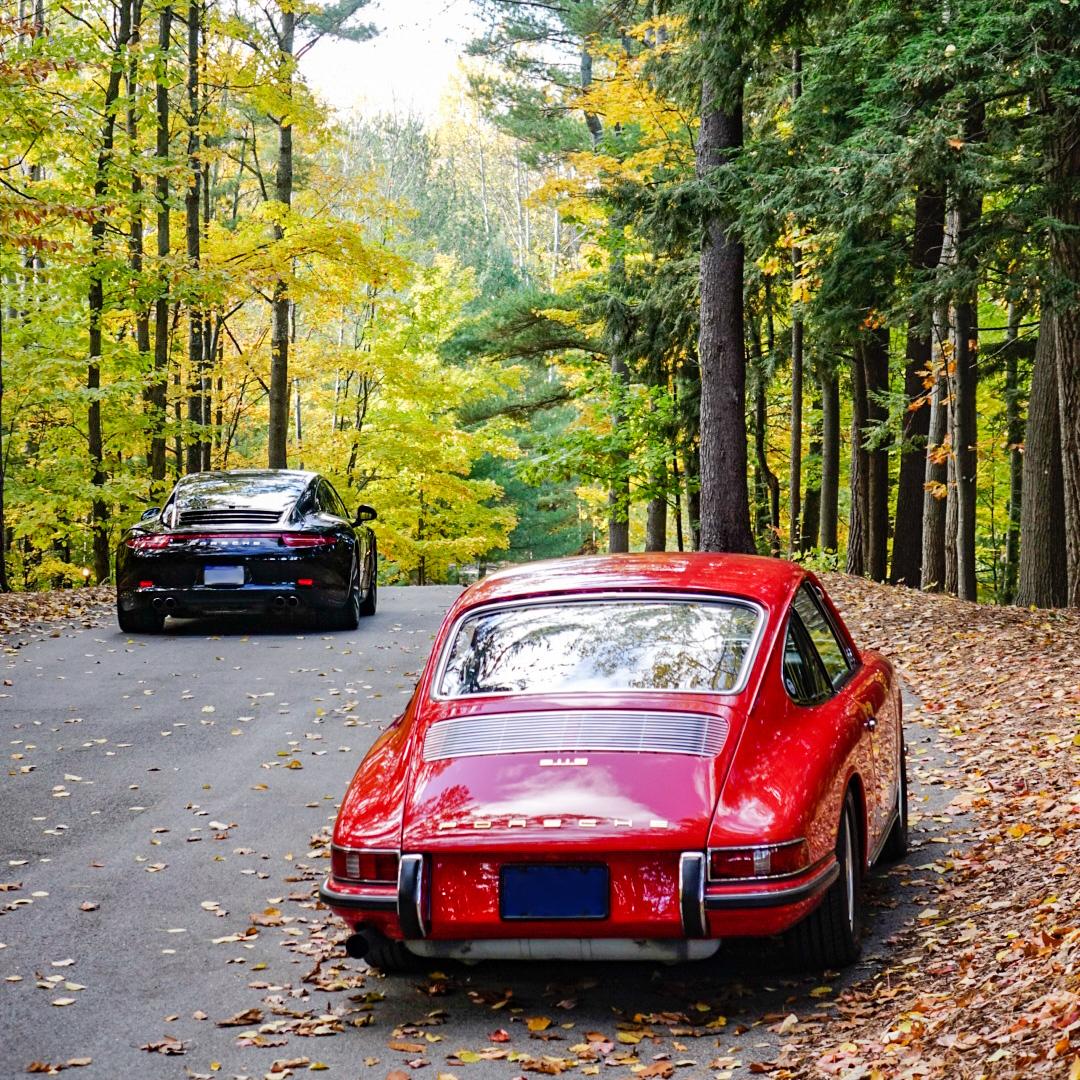 McKeel Hagerty's 1967 Porsche 911S and 2013 Porsche 911 Carrera 4S rear