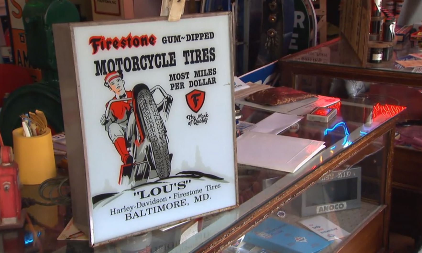 Lou's Harley-Davidson dealership sign American Pickers