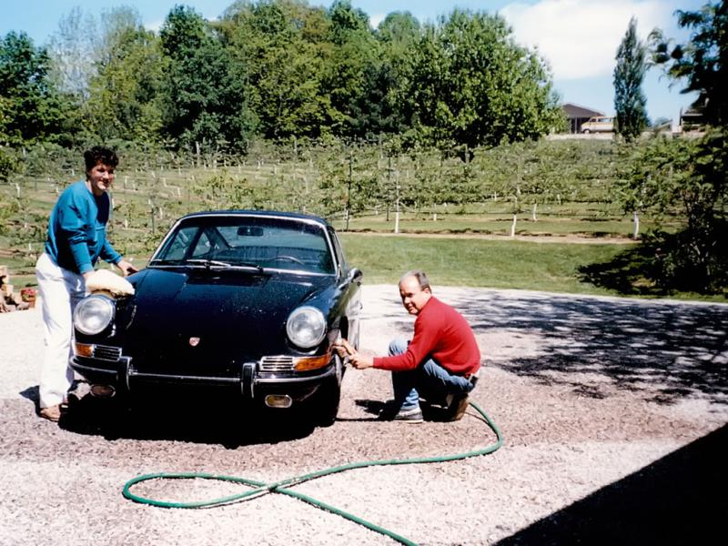 McKeel with his dad washing the restored 911S