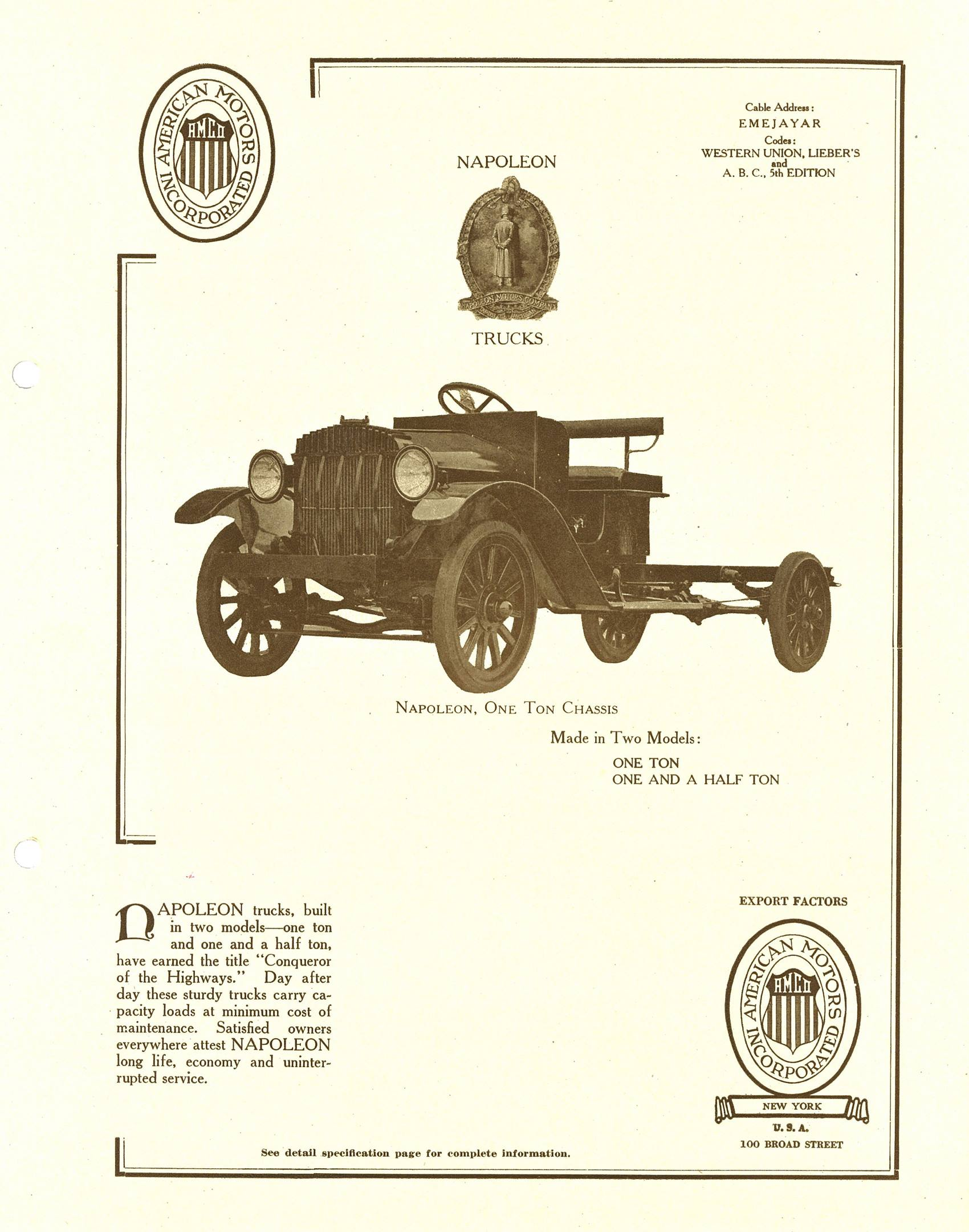 A 1920 sales brochure from New York's American Motors Incorporated—no, not that American Motors—for Napoleon Trucks