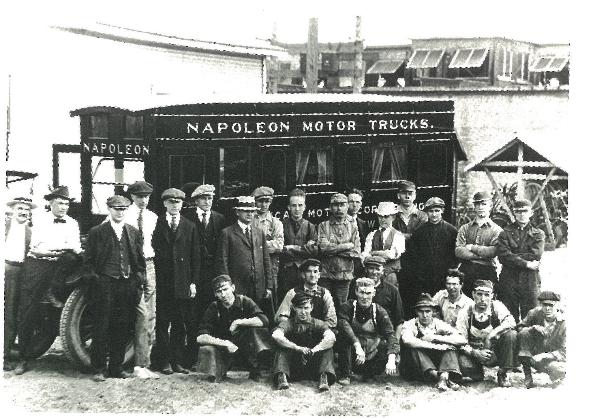 Napoleon personnel pose with a recreational vehicle specially built for sales manager Stanley Rae, second from left