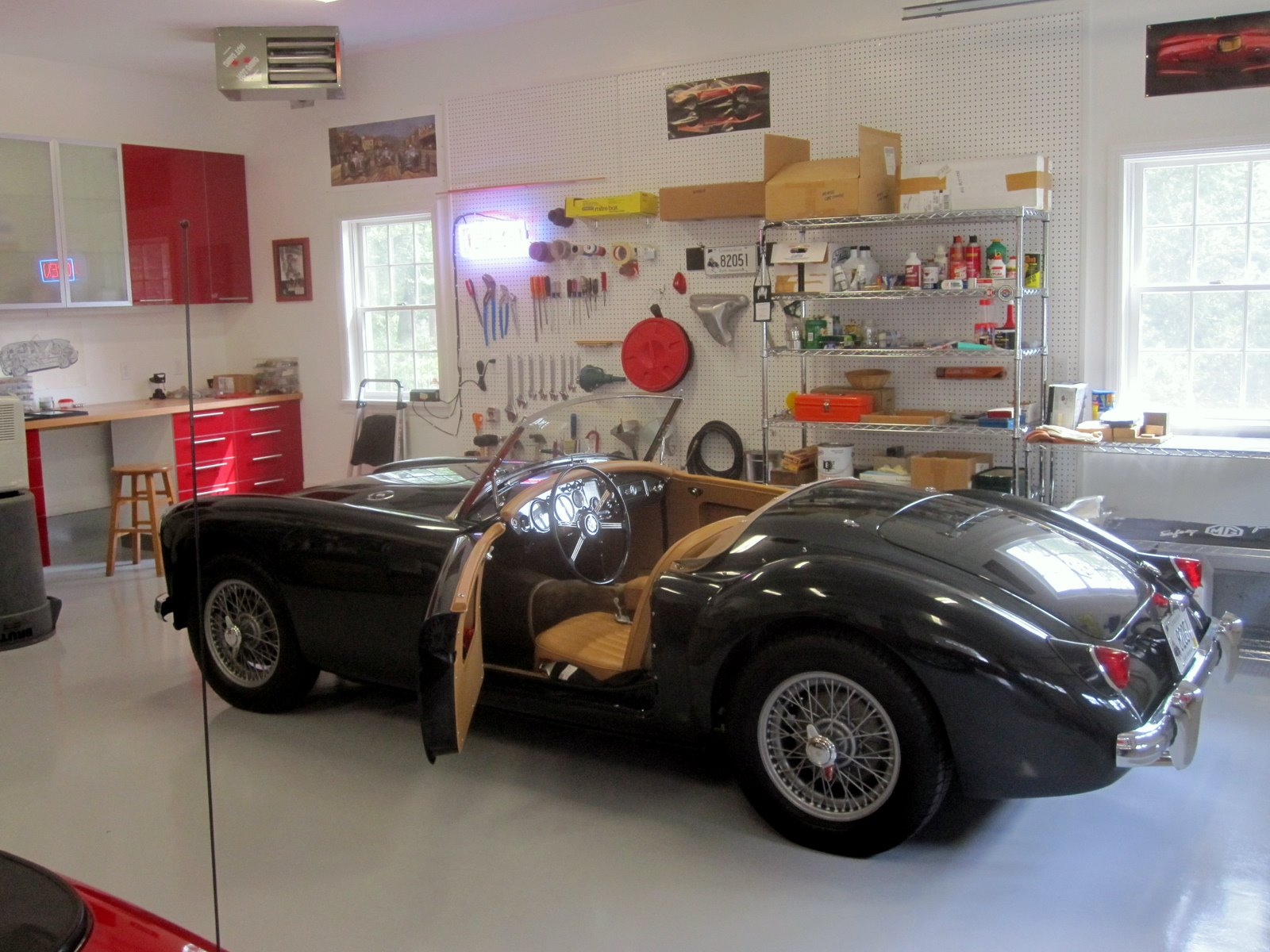 57 MGA in garage