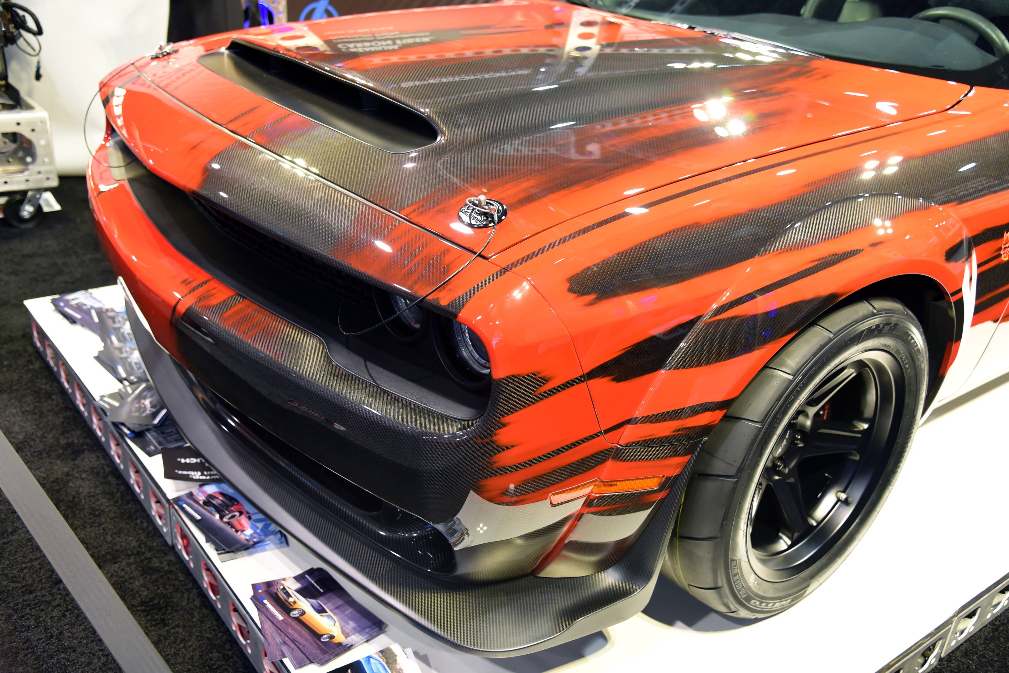 SpeedKore carbon-skinned Dodge Challenger SRT Demon hood detail
